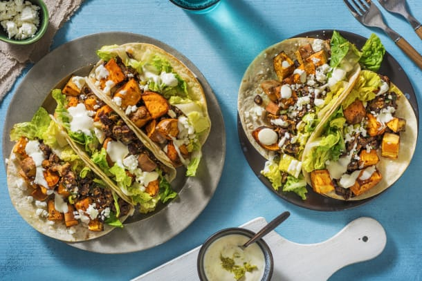 Sweet Potato, Black Bean & Feta Tacos