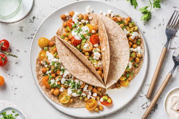 Snelle gerechten - Tortilla's met gebakken kikkererwten en feta