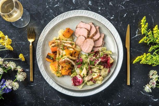Caloriearme recepten - Varkenshaas met gratin van pompoen en Camembert