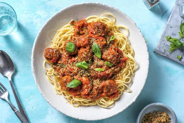Snelle gerechten - Vegan gehaktballen in tomatensaus