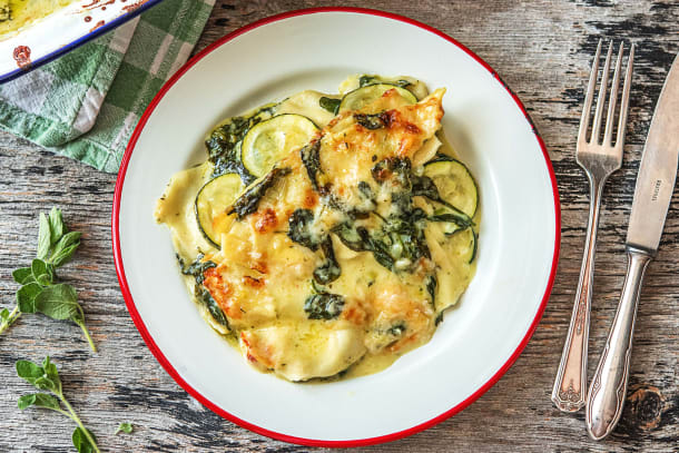 Vegetarische lasagne met courgette en spinazie