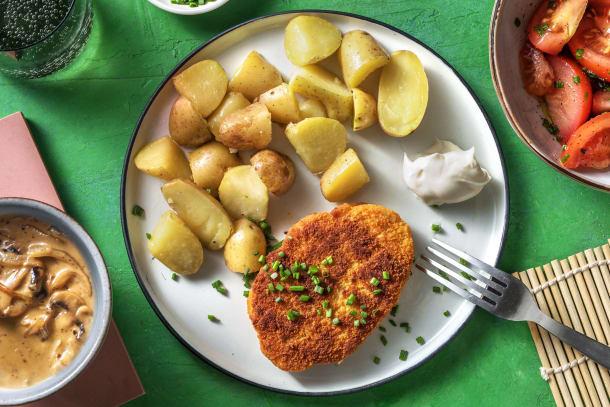 Snelle gerechten - Vegetarische schnitzel met champignonroomsaus