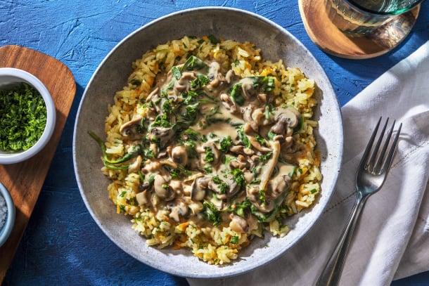 Gesunde Gerichte - Vegetarisches Pilz-Stroganoff