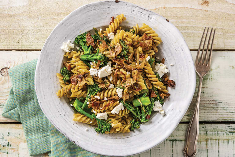 Bacon, Broccolini & Fetta Fusilli