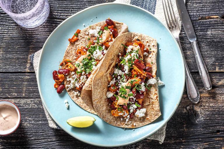 Fried Bean & Mushroom Taco