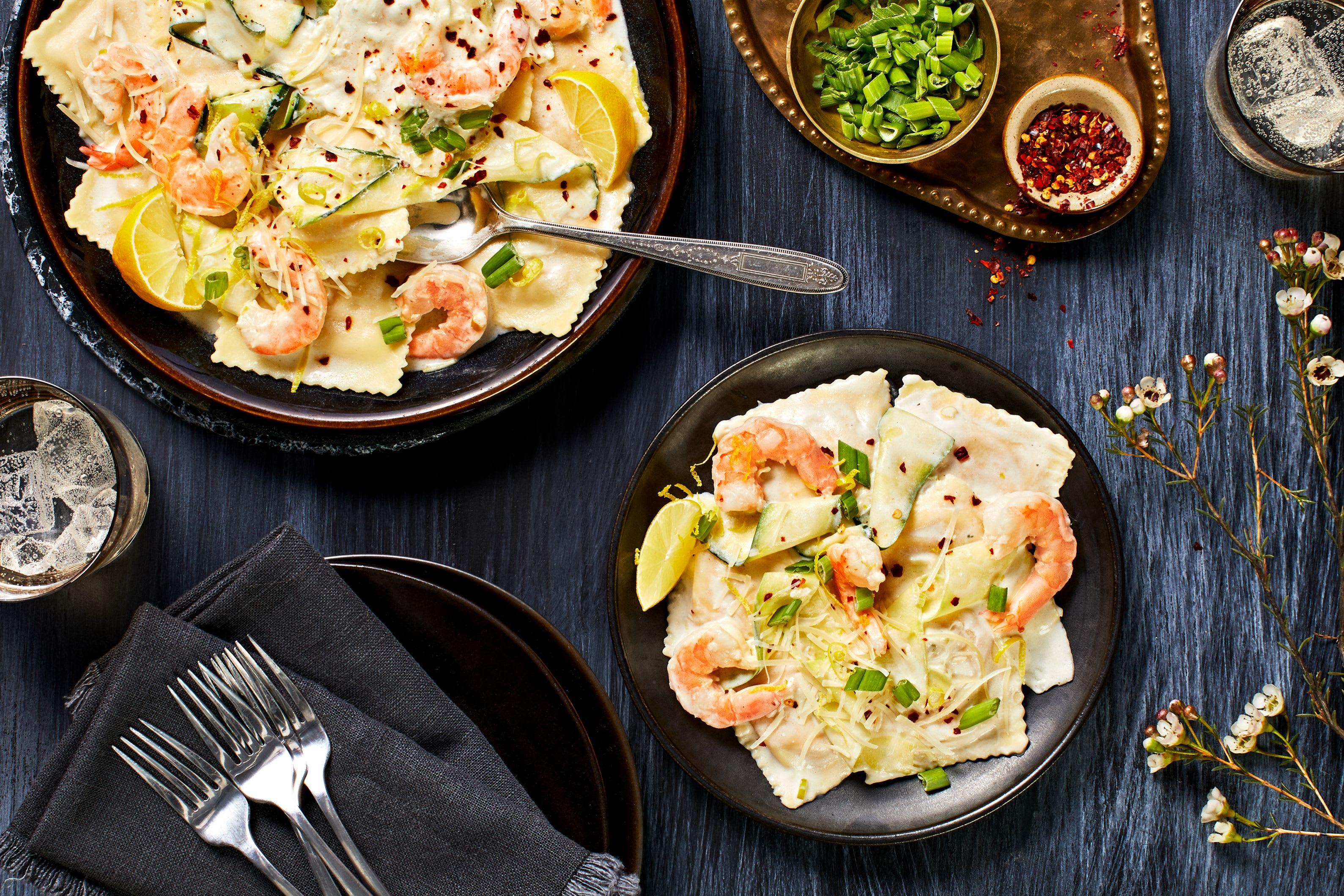 Lobster Ravioli and Shrimp in a Lemon Cream Sauce