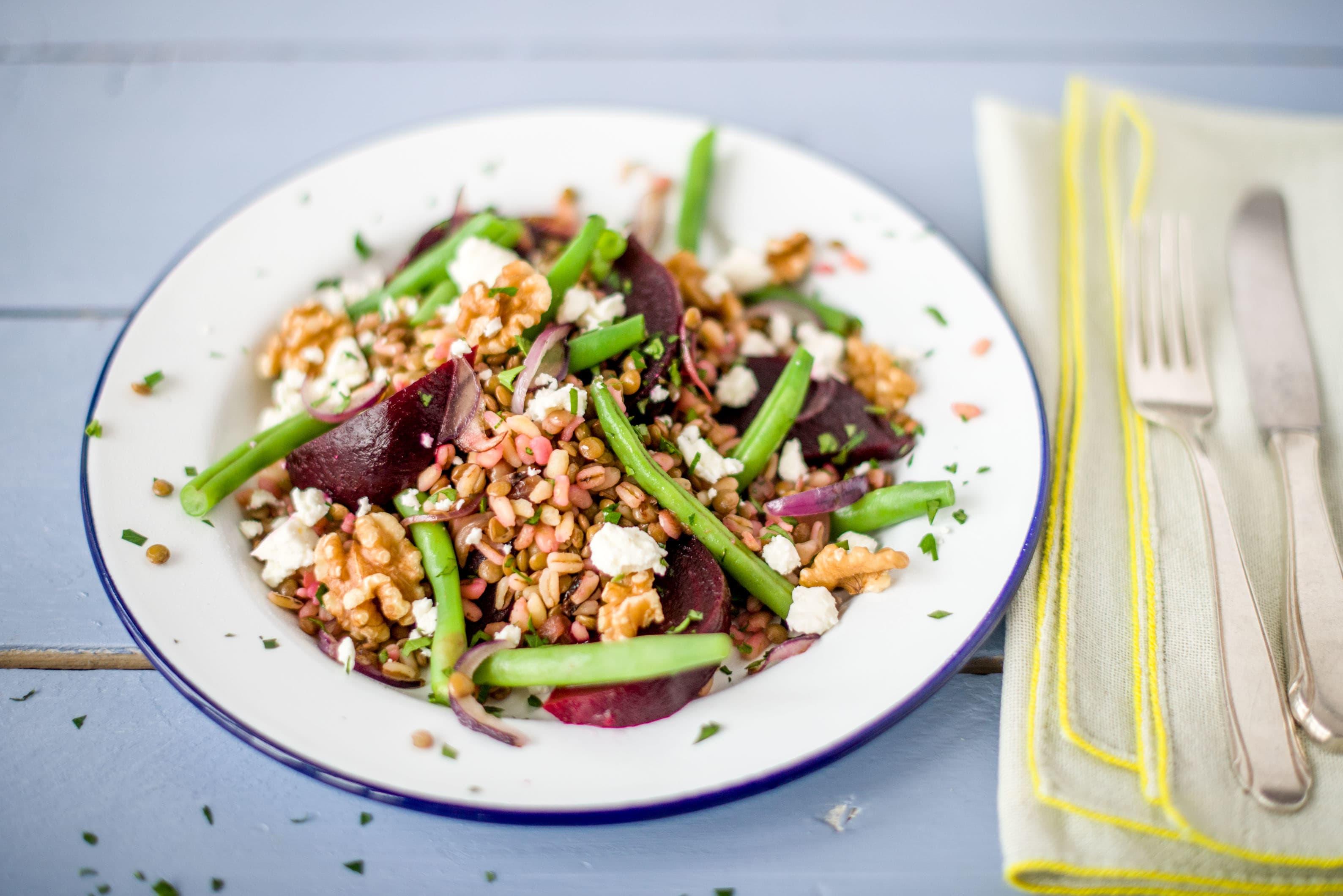 Lentil & Beetroot Salad with Fetta