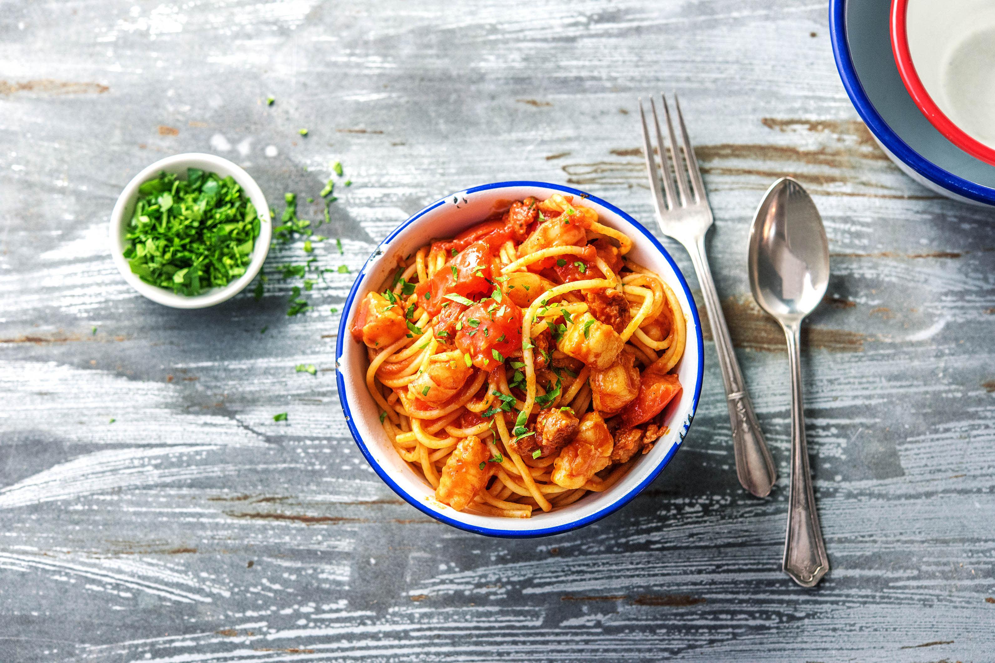 Prawn & Chorizo Spaghetti