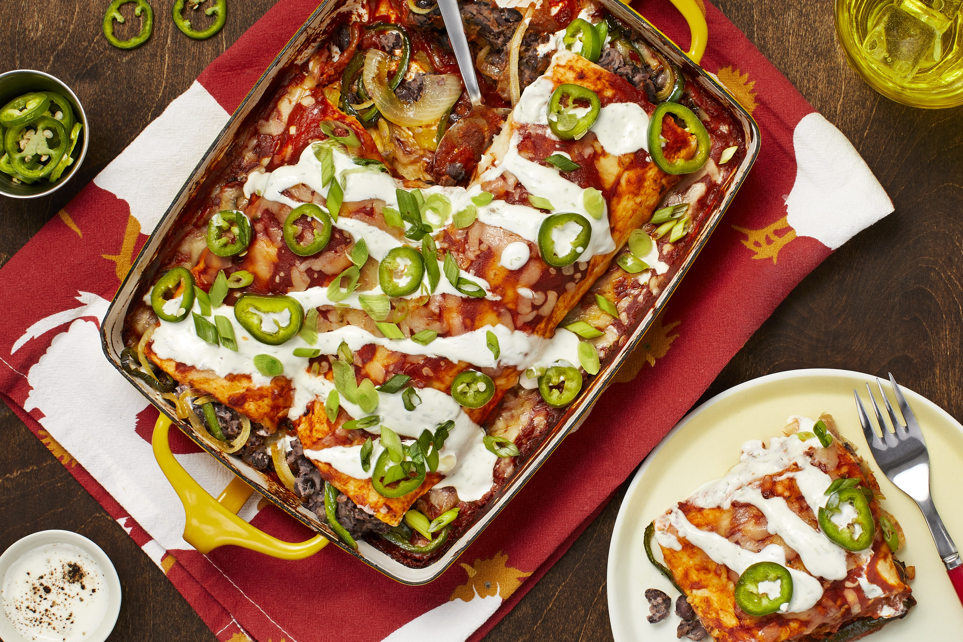 Cheesy Black Bean Enchiladas