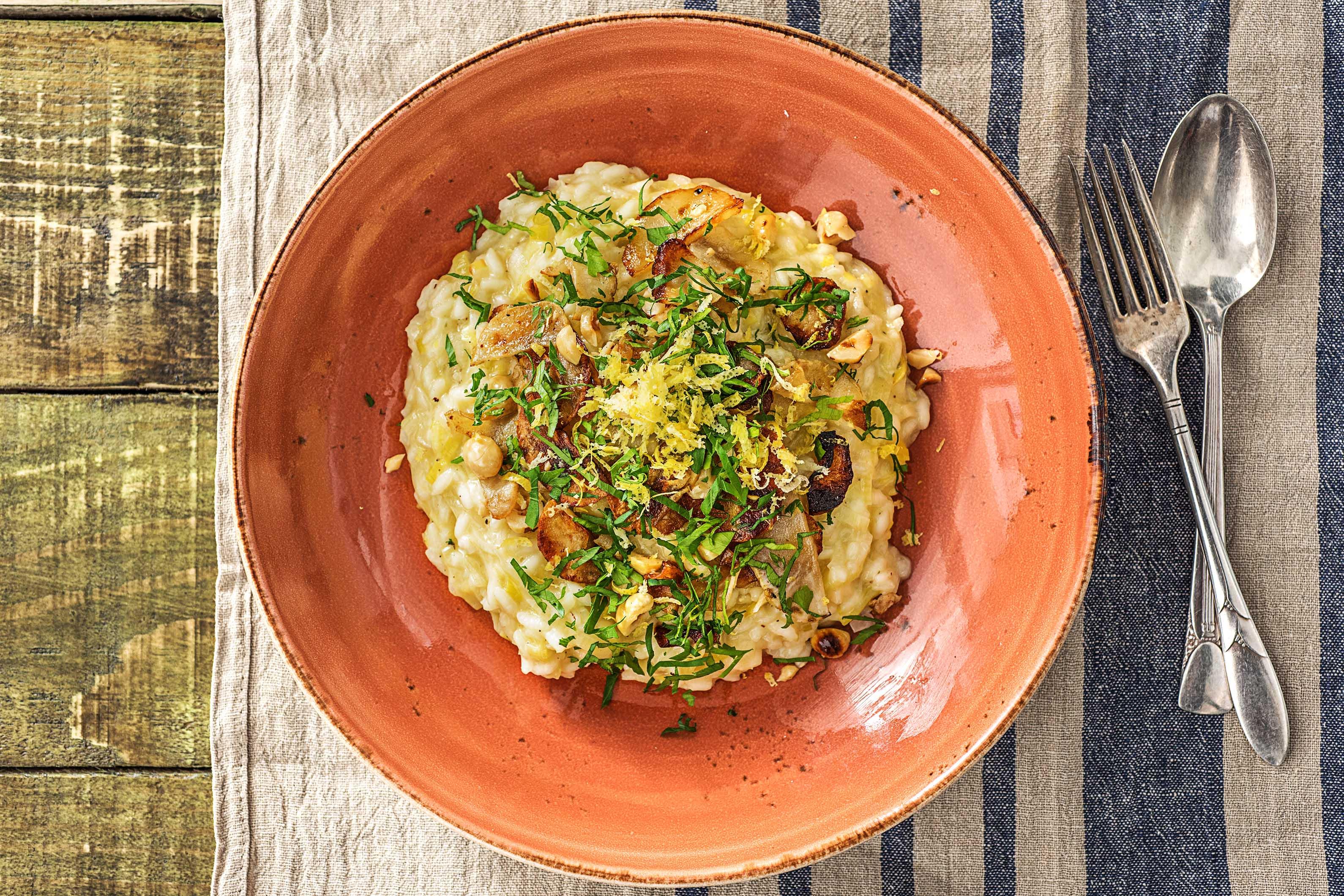Winterse risotto met aardpeer