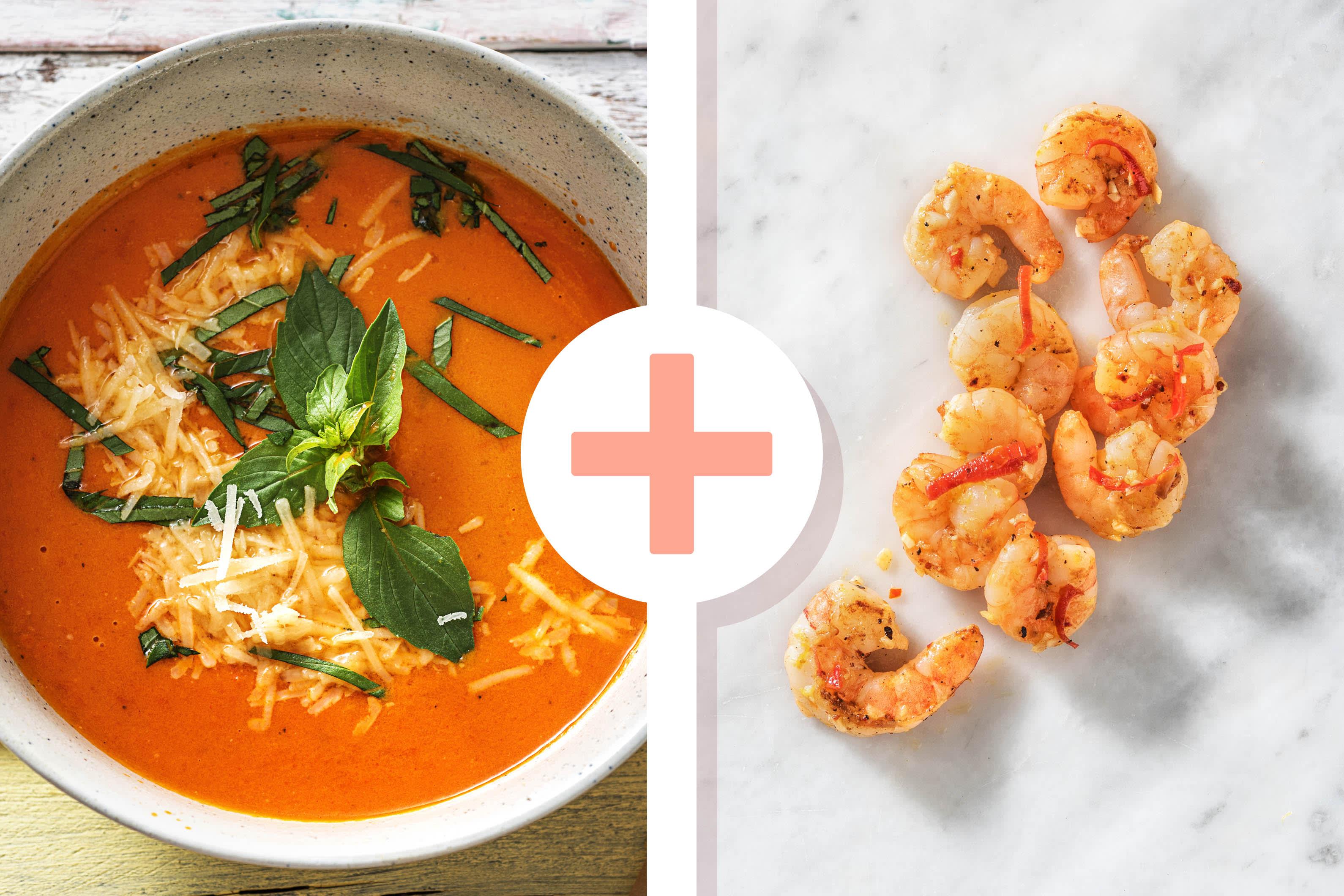 Tomaten-Paprika-Suppe mit Garnelen