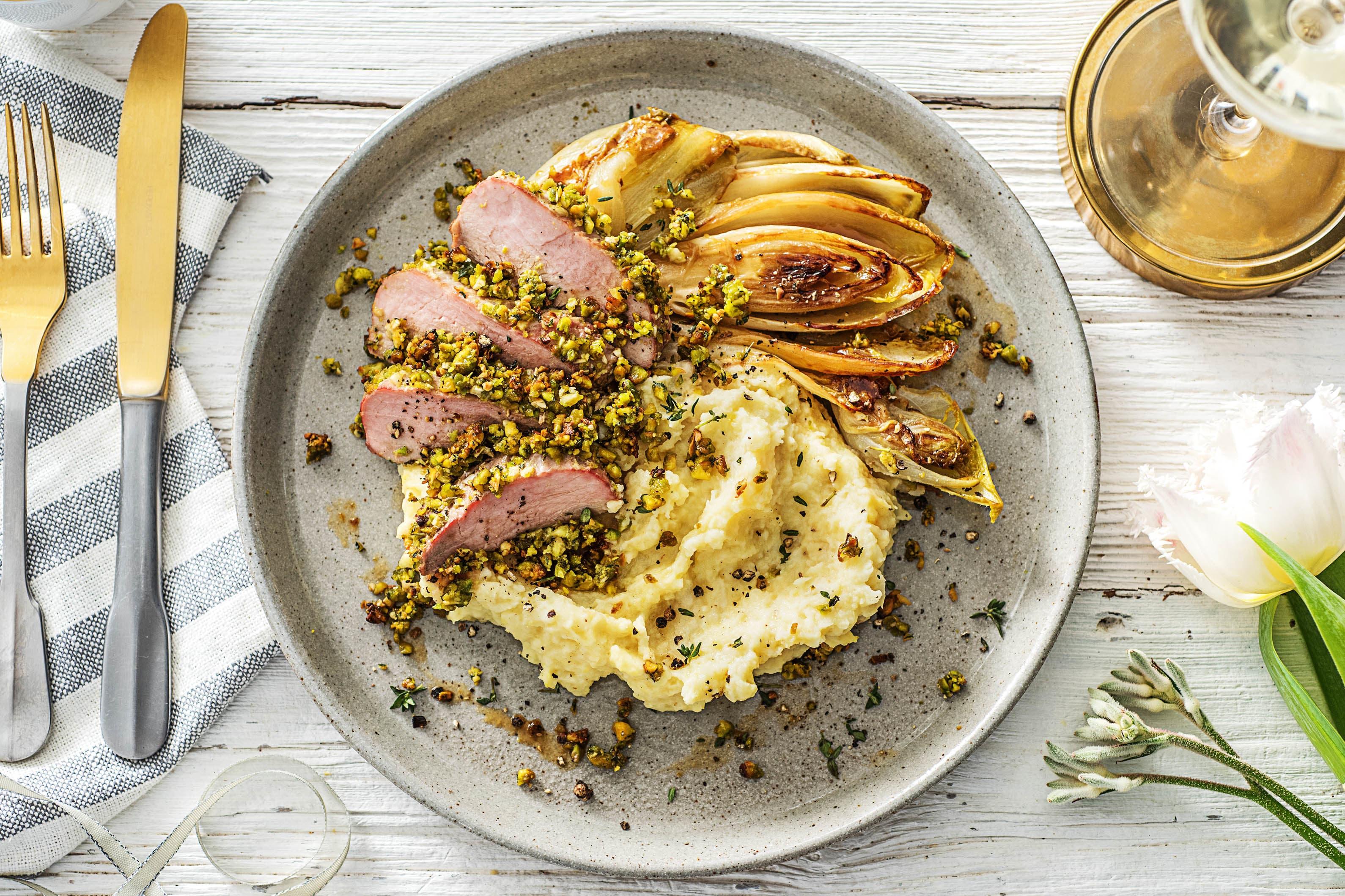 Filet de porc en croûte de pistache et thym