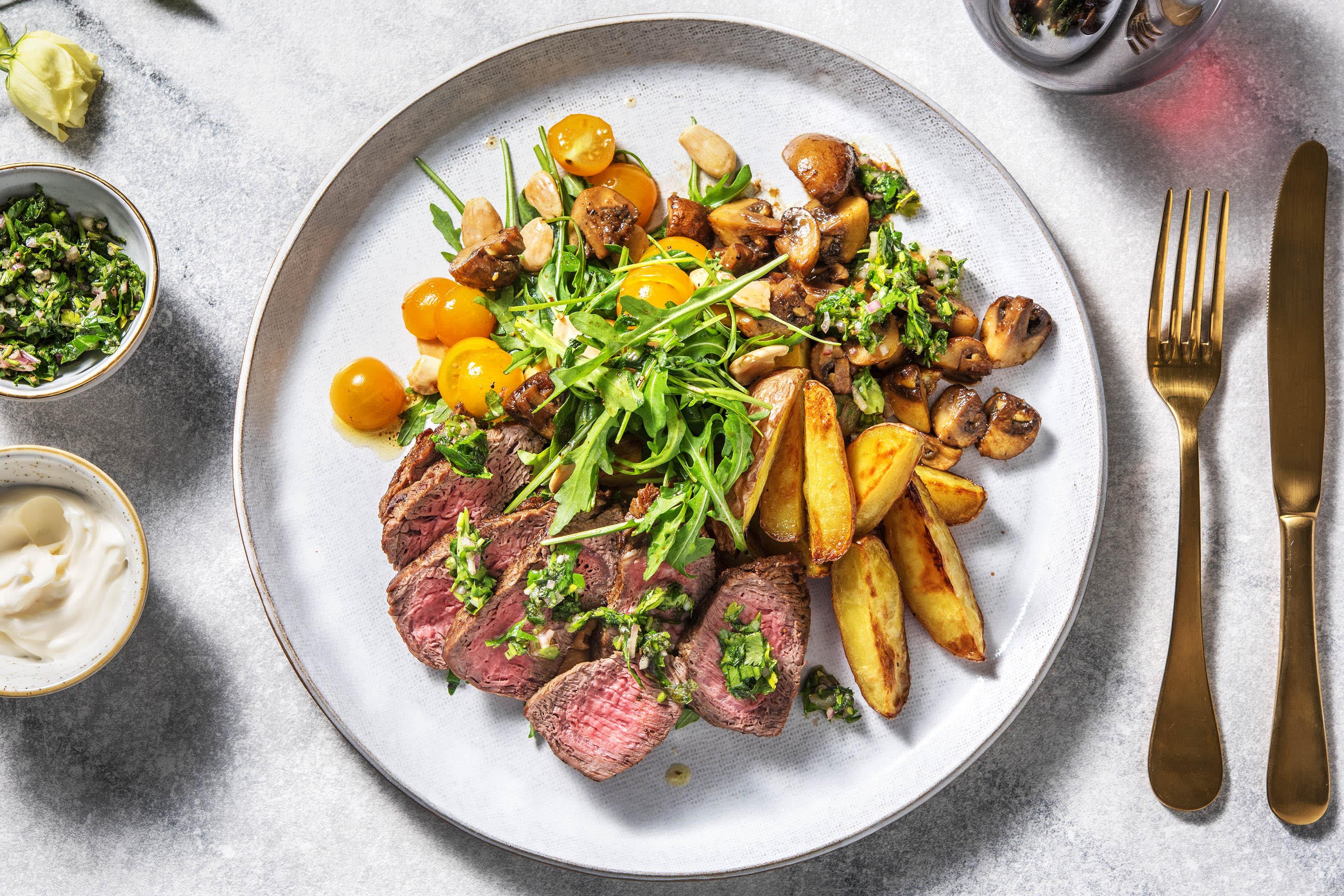 Steak au chimichurri et pommes de terre Roseval