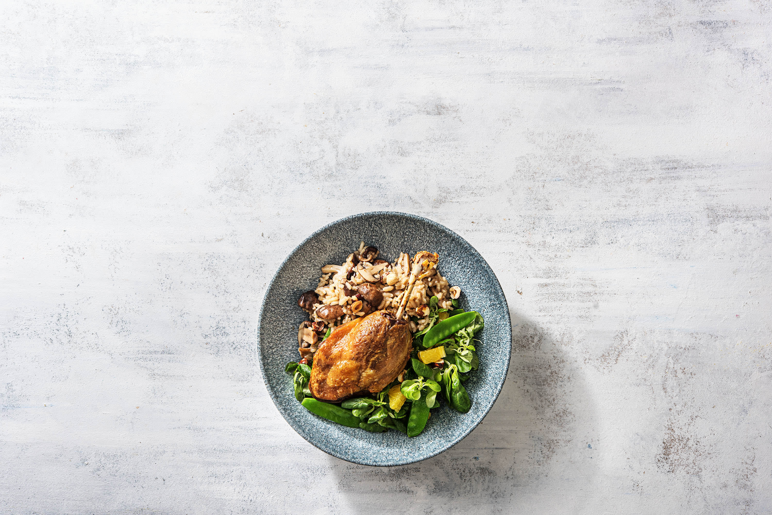 Cuisse de canard et risotto aux shiitakés