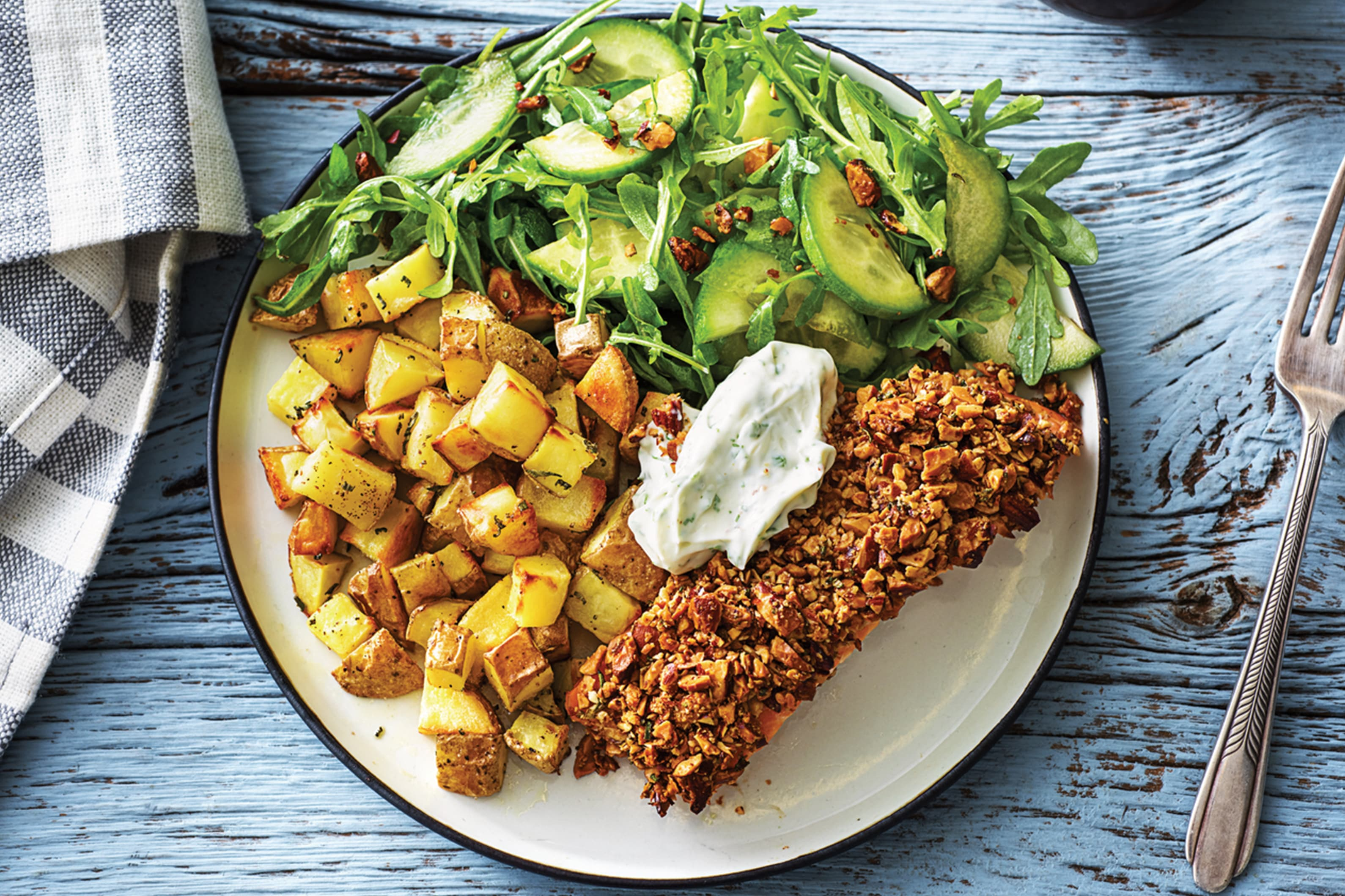 Almond Crusted Salmon & Rosemary Potatoes Recipe | HelloFresh