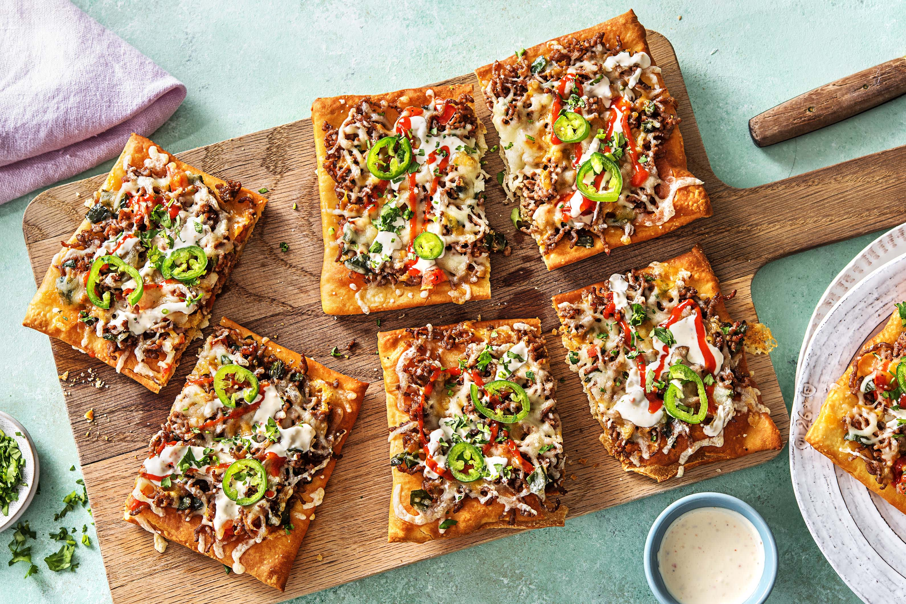 Beef Taco Pizzas