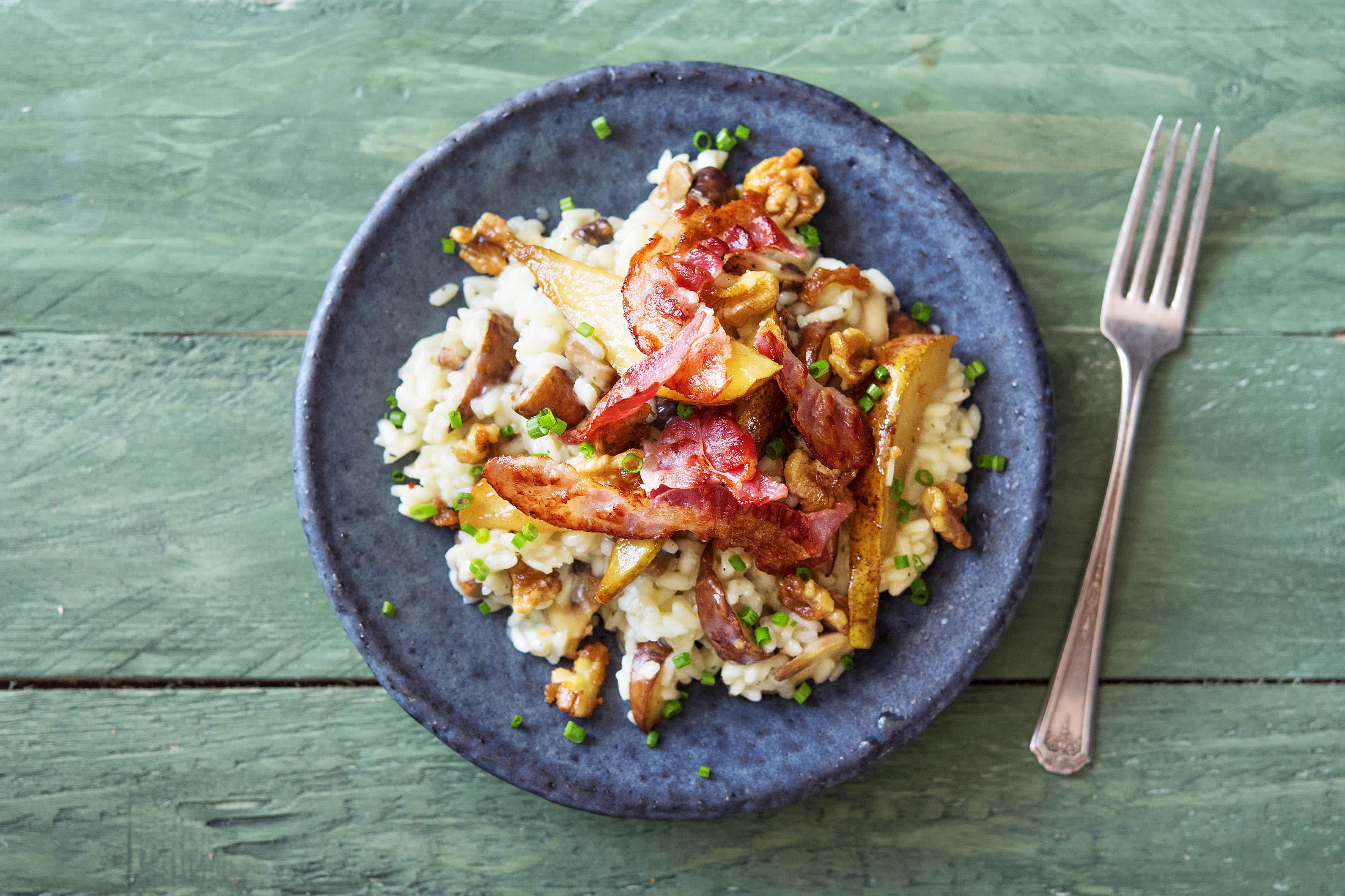 Cremiges Pilzrisotto mit knusprigem Bacon,