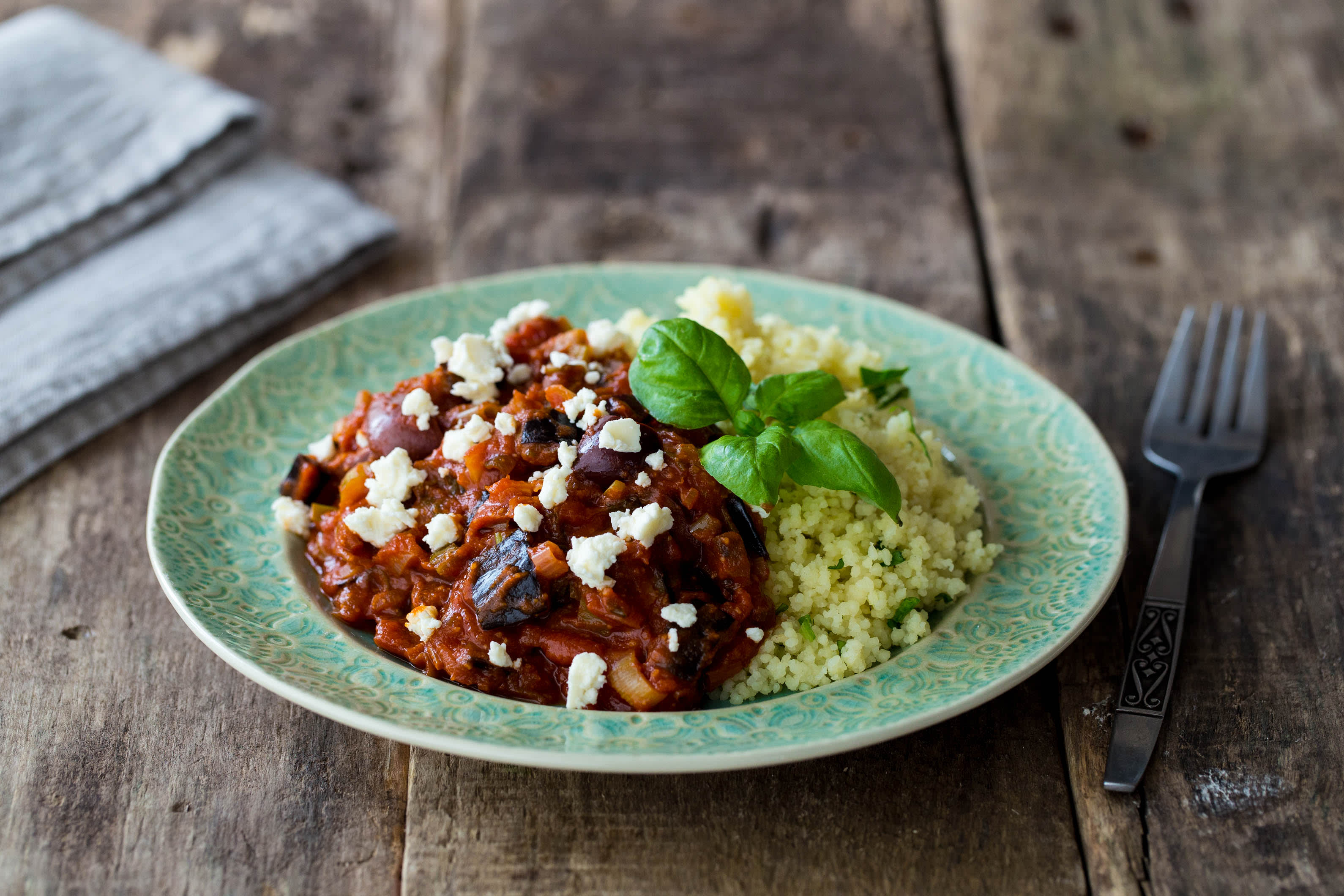 Greek Ragu with Almond, Aubergine and Basil Couscous