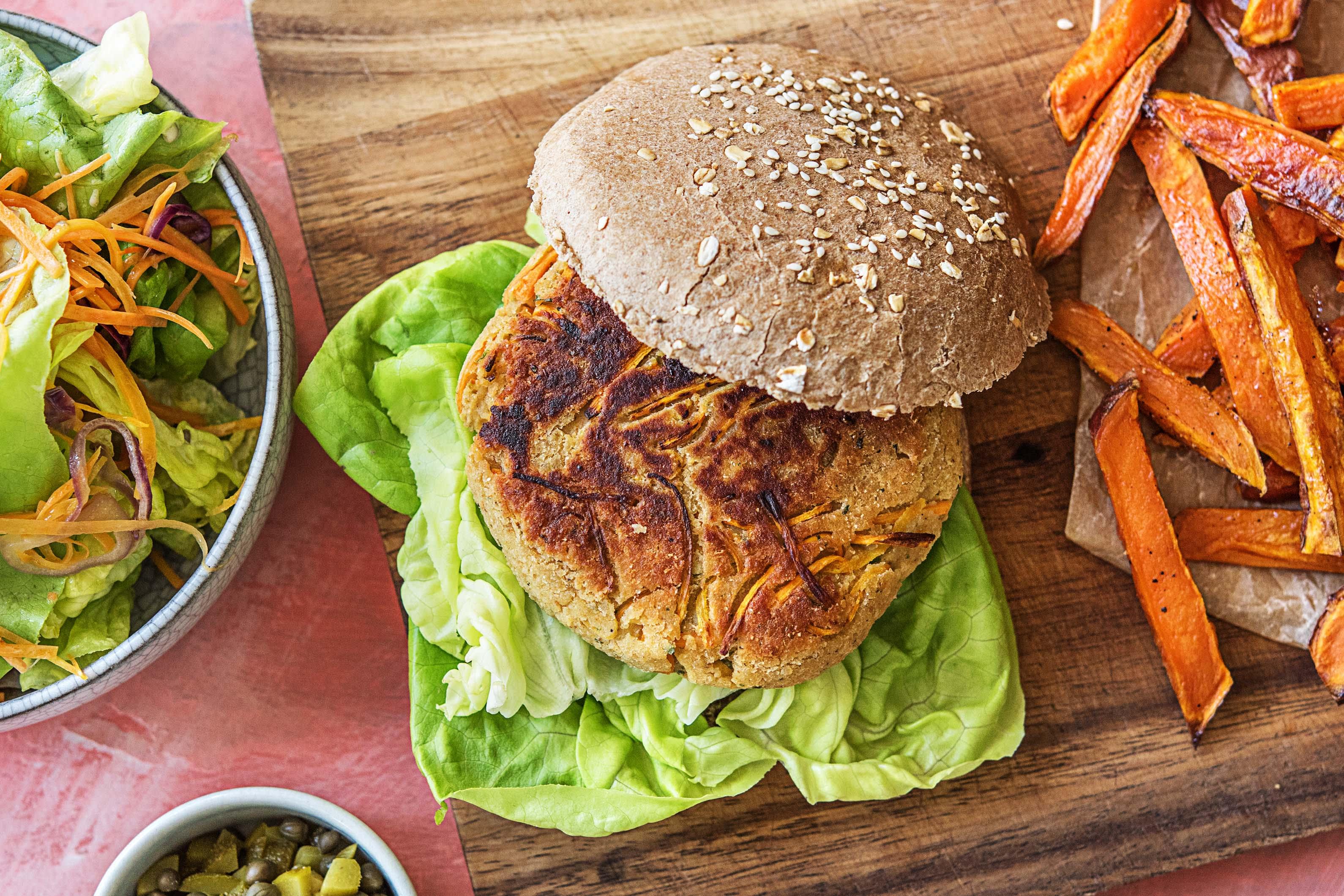 Groenteburger met wortel en ravigotesaus