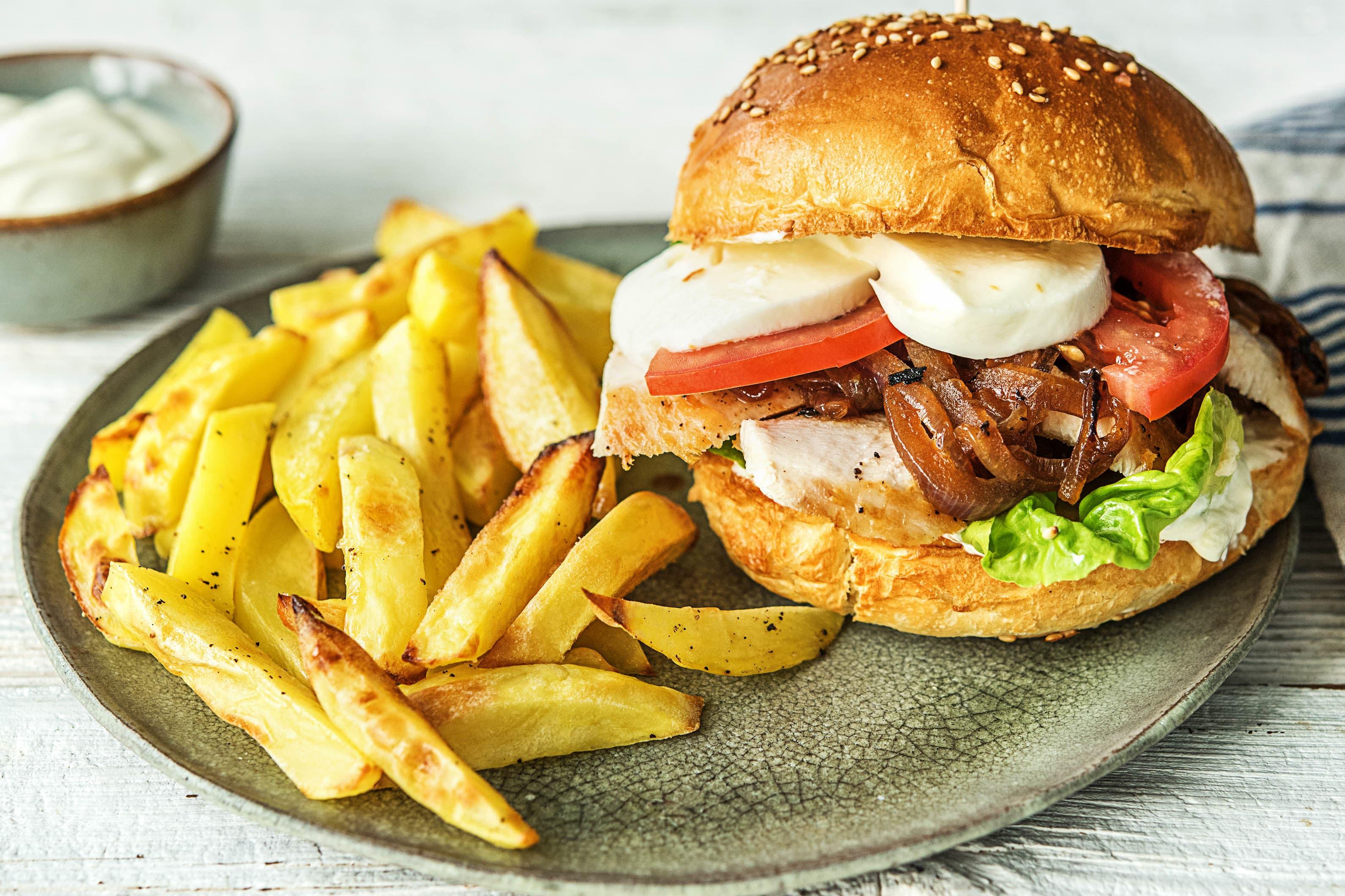 Hähnchen-Burger mit Mozzarella,