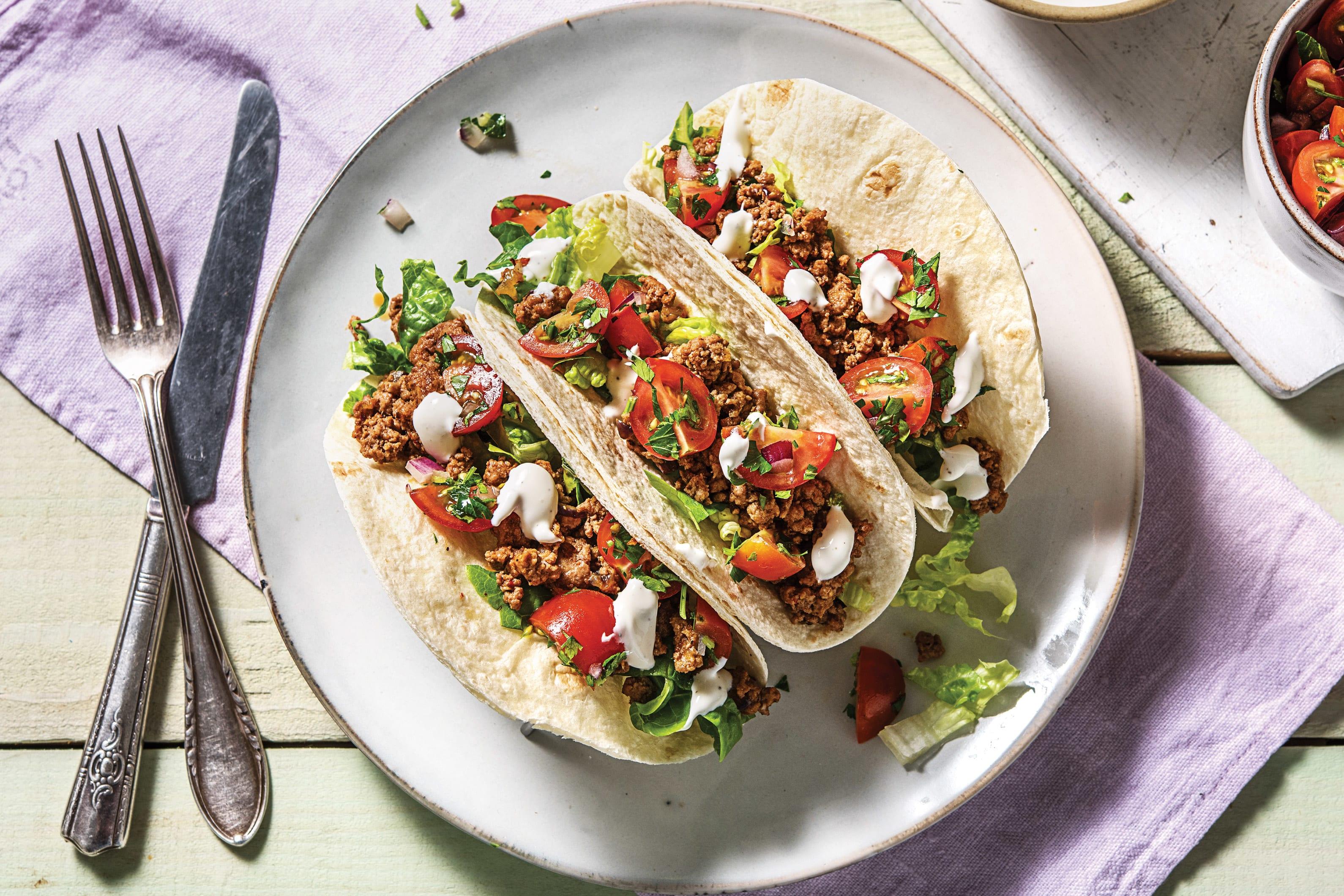 Mild Harissa Beef Tacos