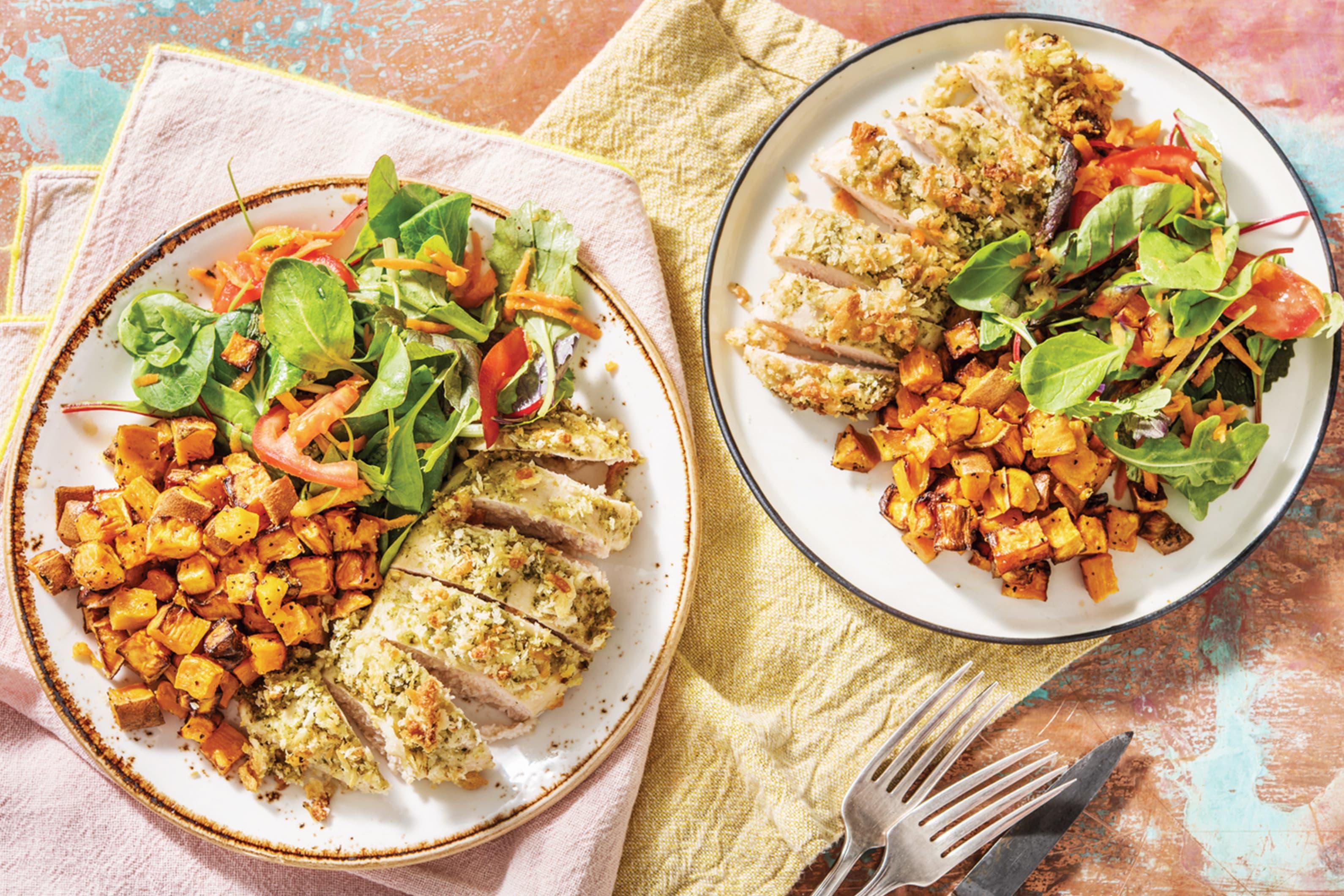 Pesto & Mozzarella Crusted Chicken