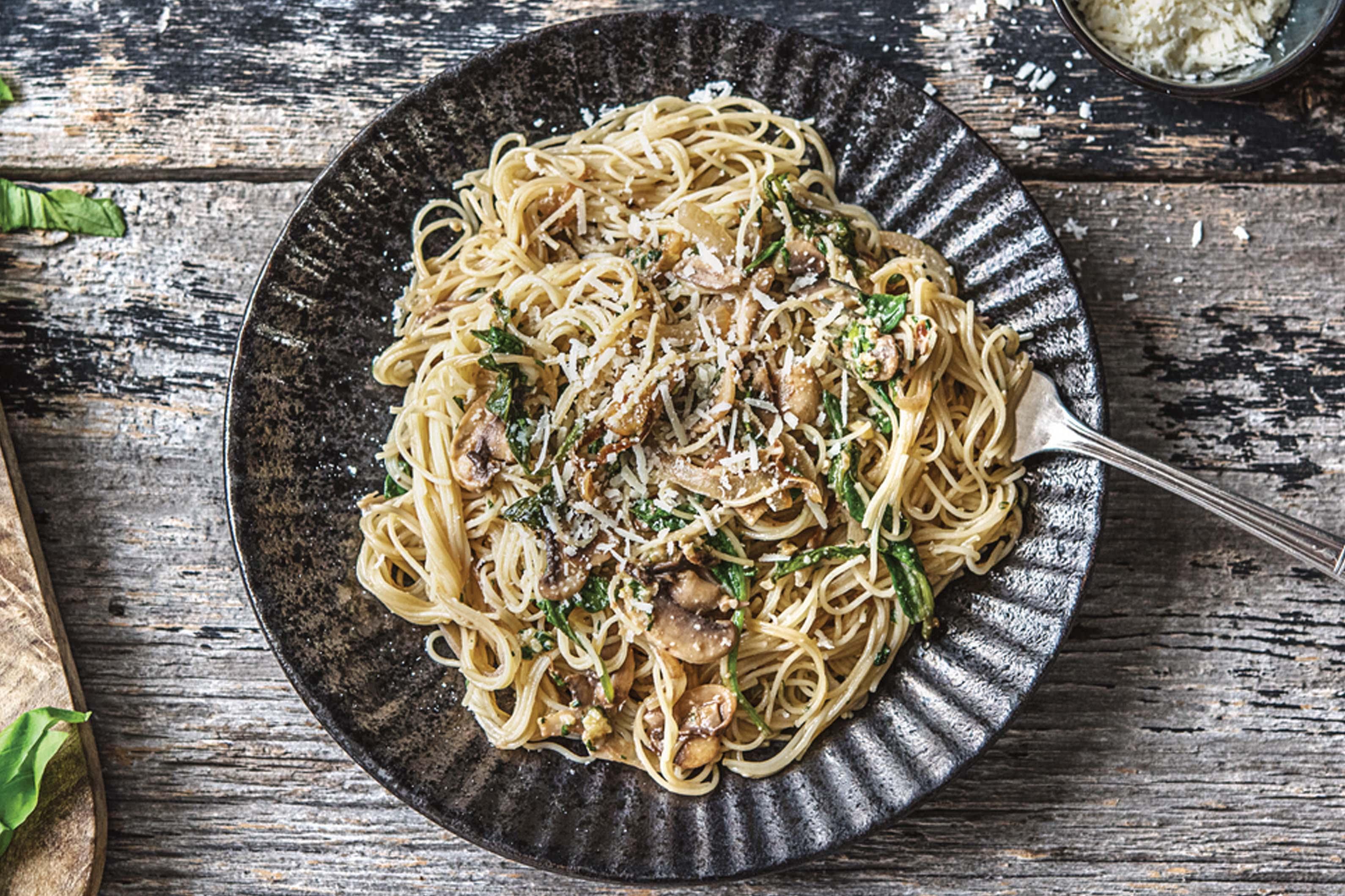 Mushroom Pasta With Basil Walnut Pesto Recipe Hellofresh