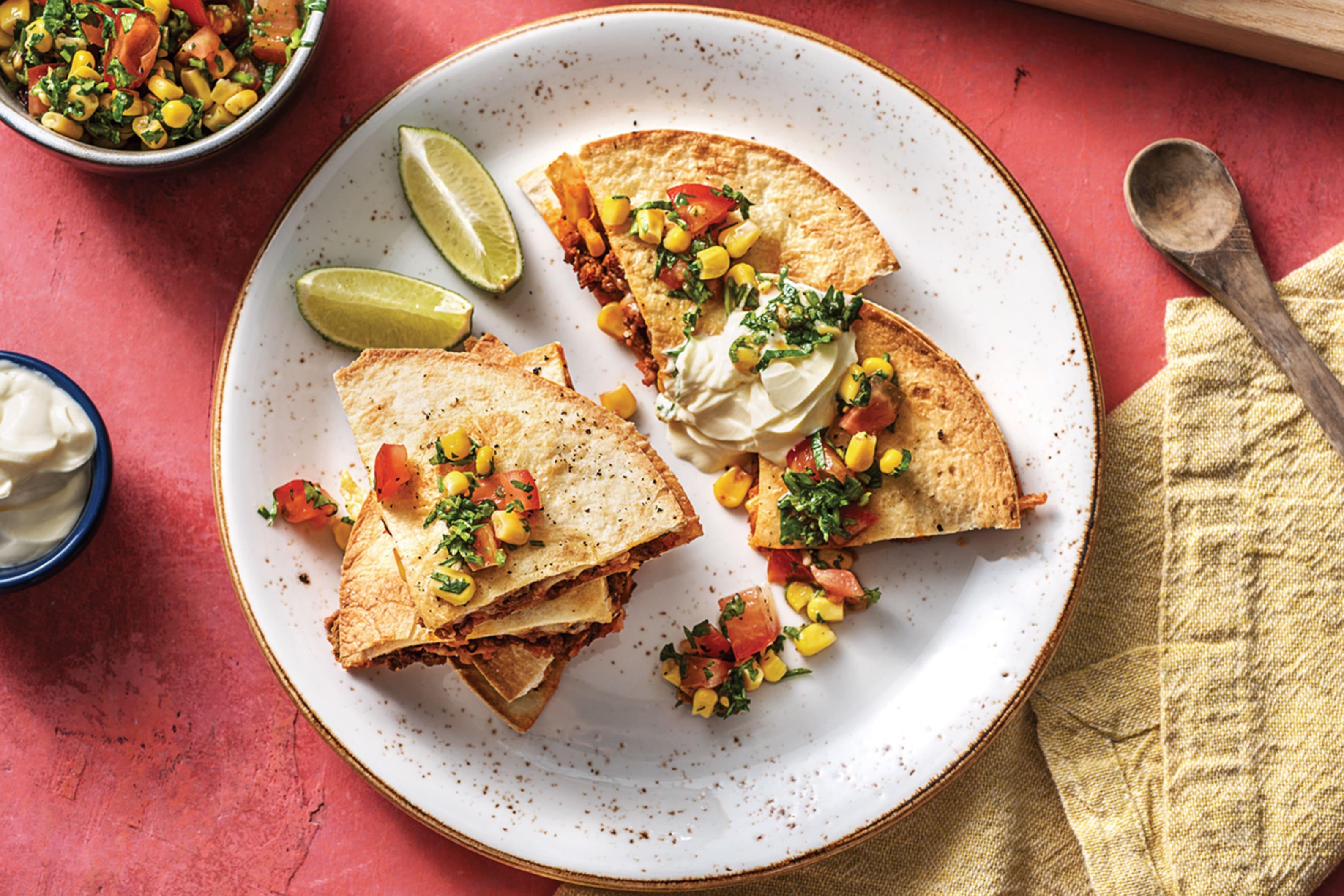 Oven-Baked Beef & Corn Quesadillas
