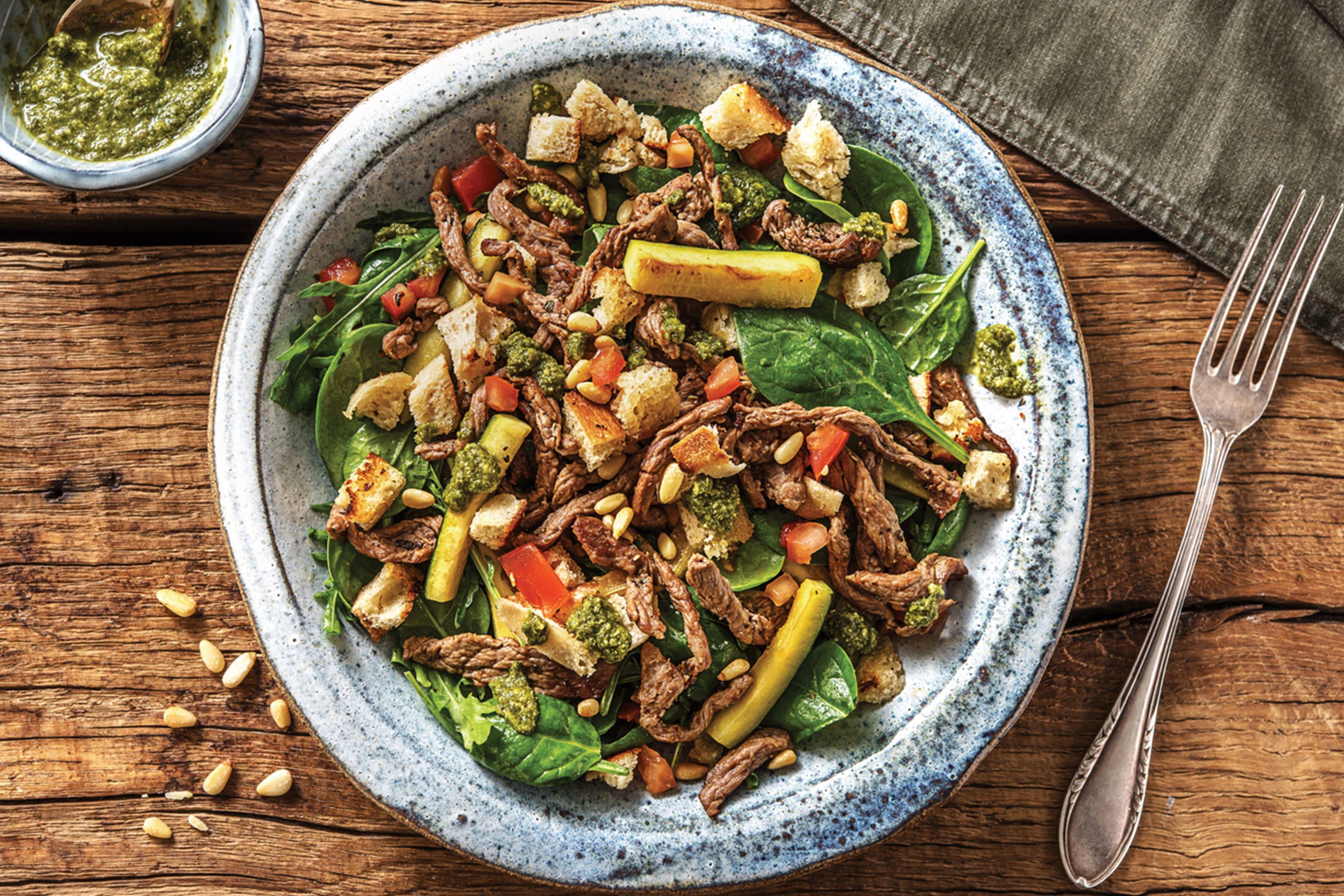 Quick Italian Pesto Beef Toss