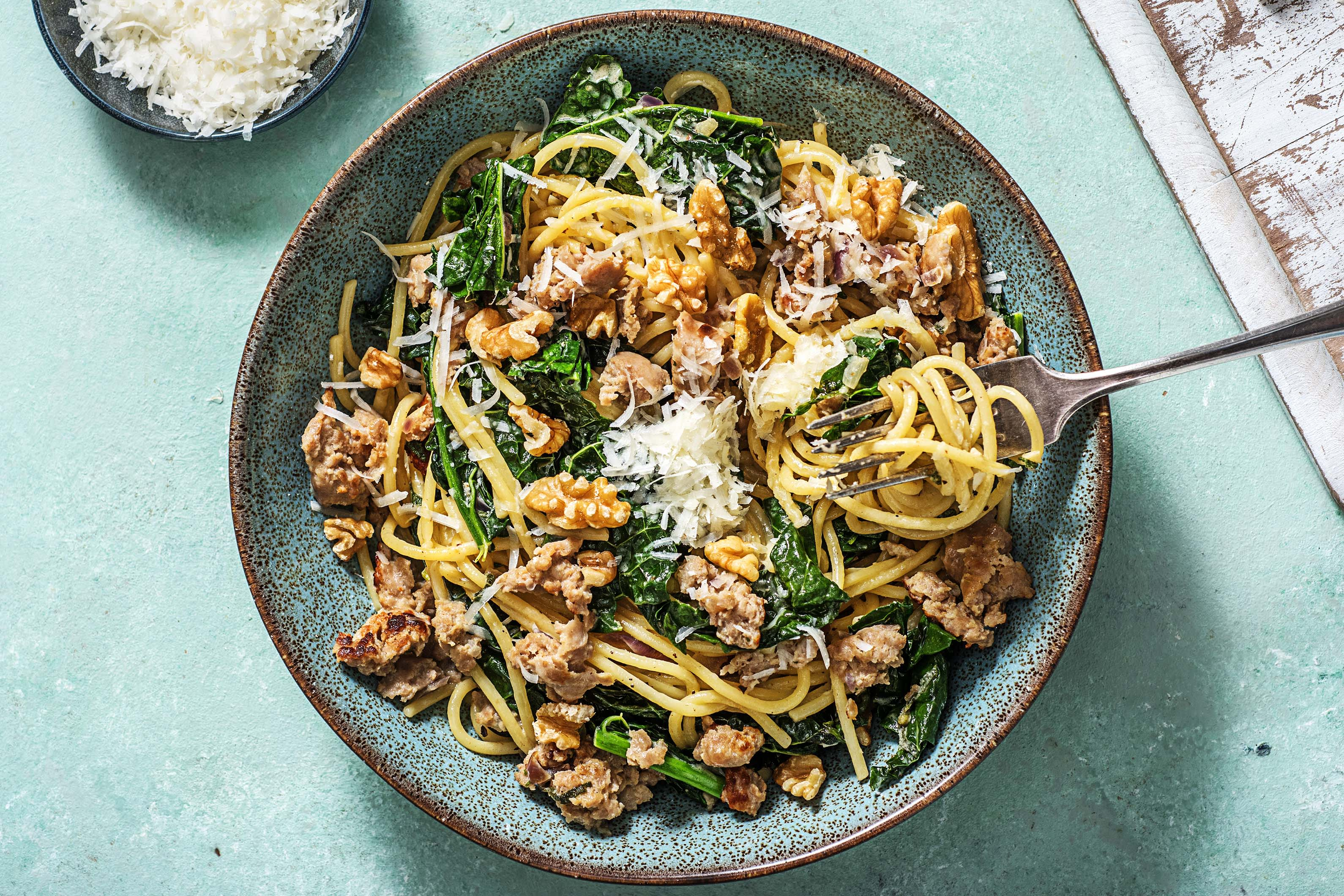 Pork, Sage and Onion Creamy Spaghetti