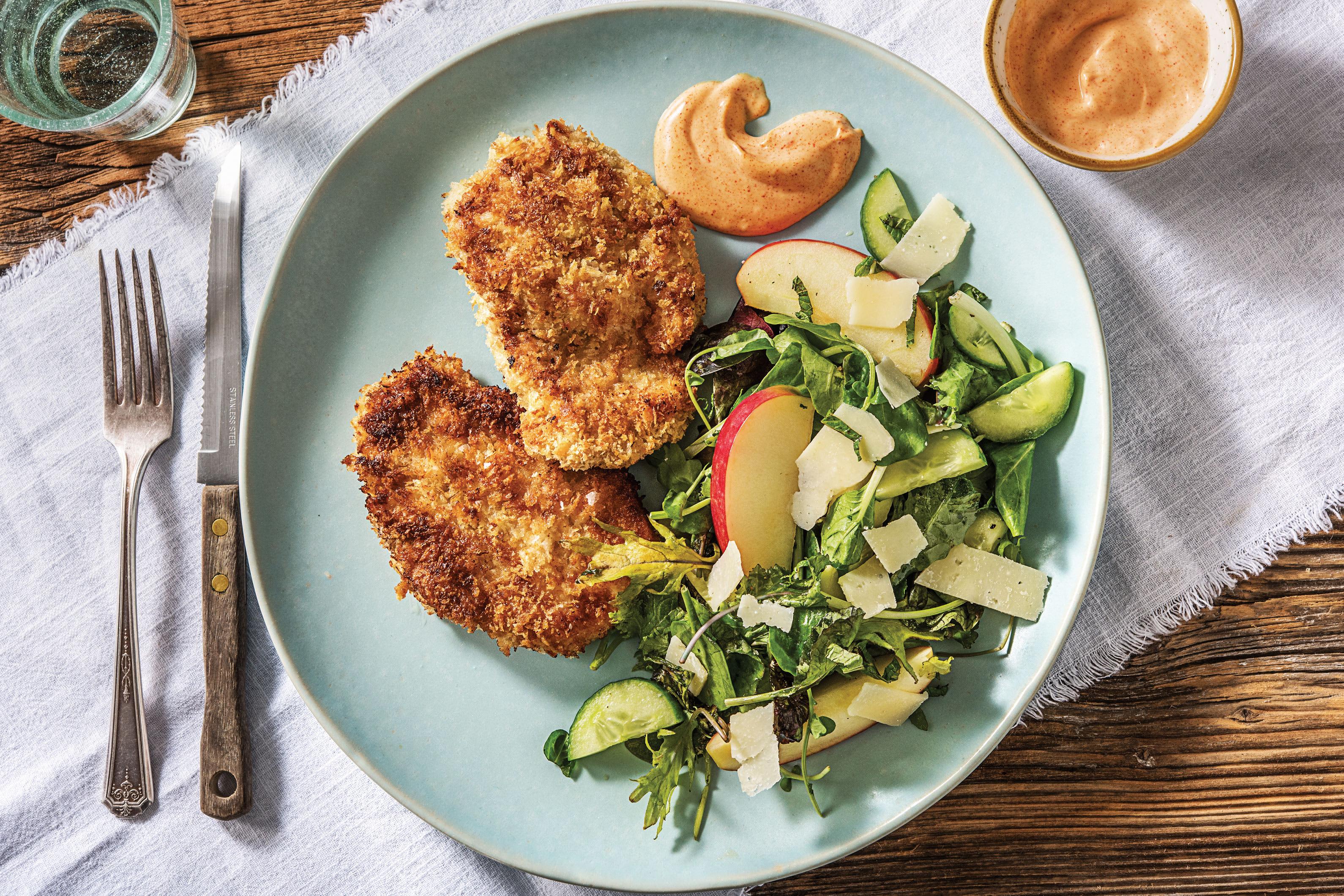Pork Schnitzel & Apple Parmesan Salad