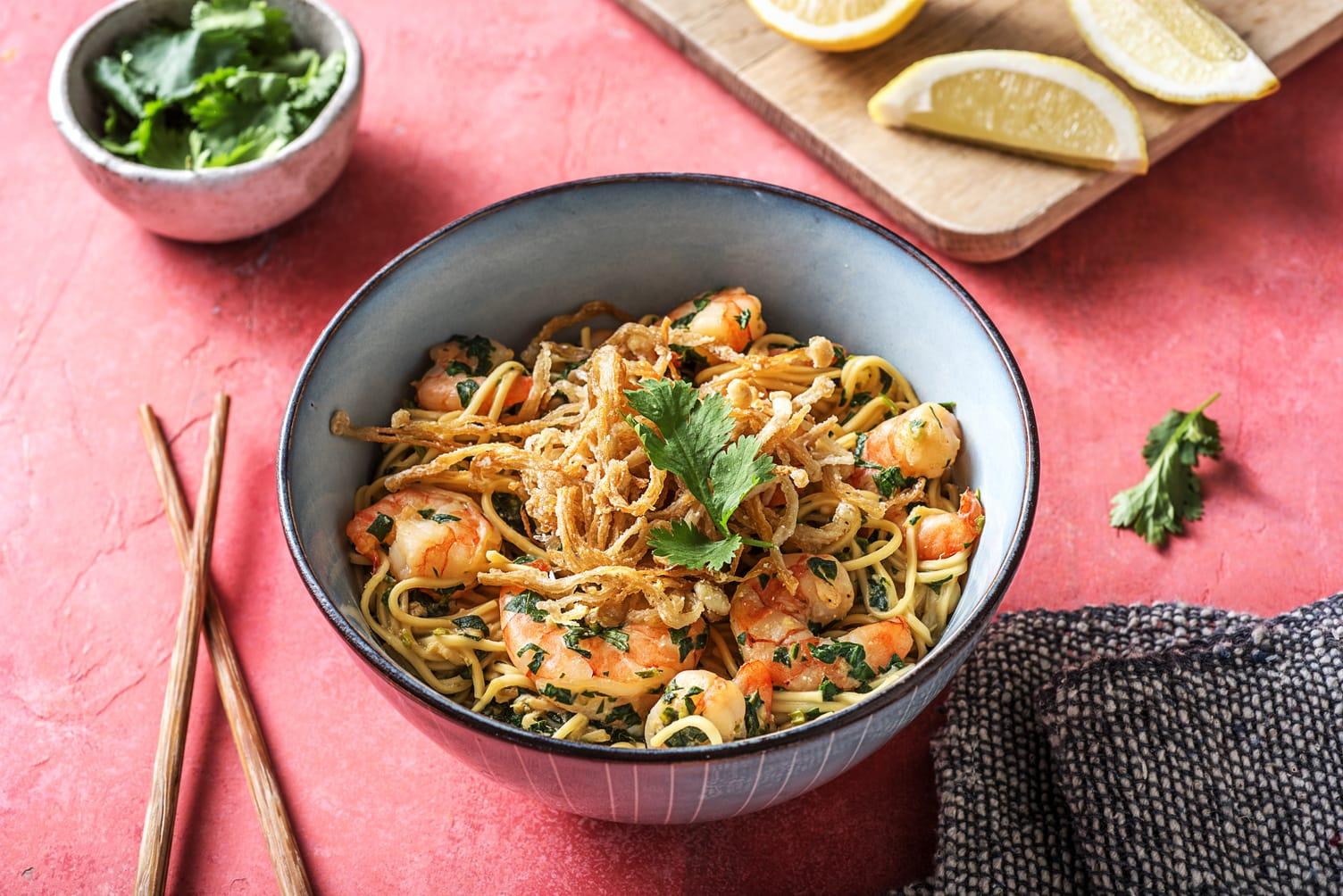 Miso Pesto Shrimp Ramen