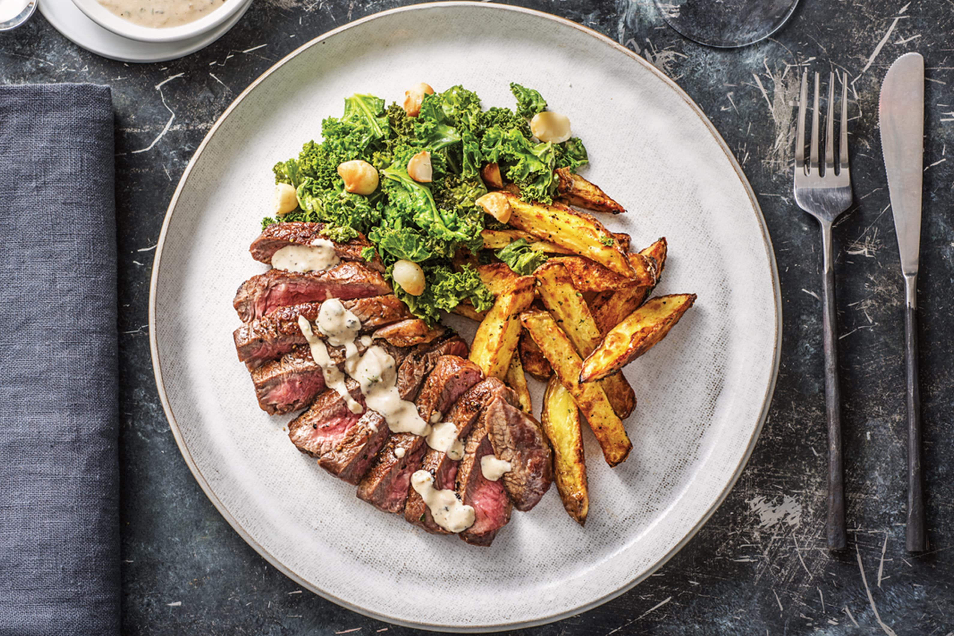 Sirloin Steak & Peppercorn Sauce