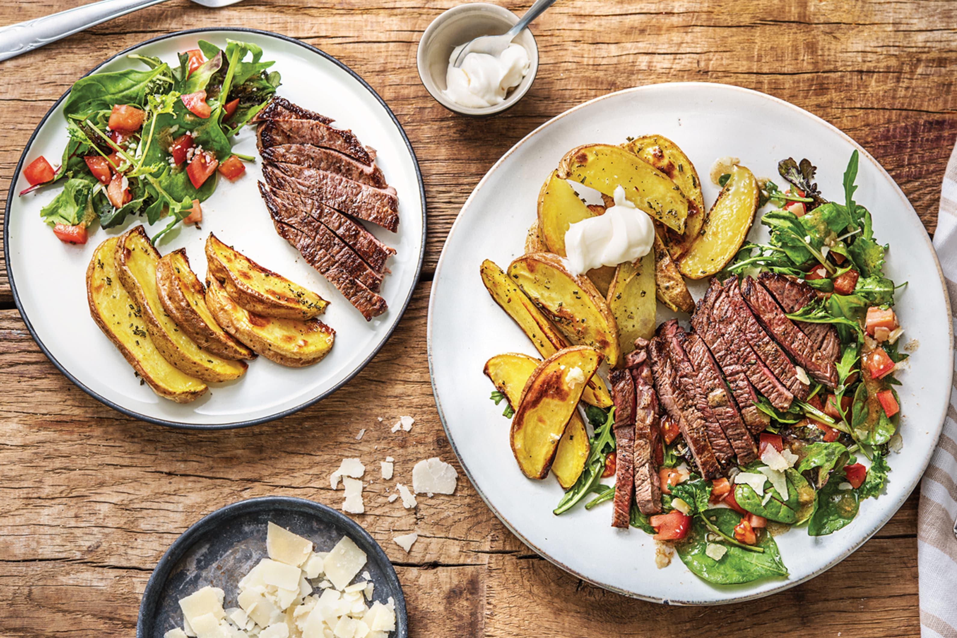 Steak Tagliata & Rosemary Wedges