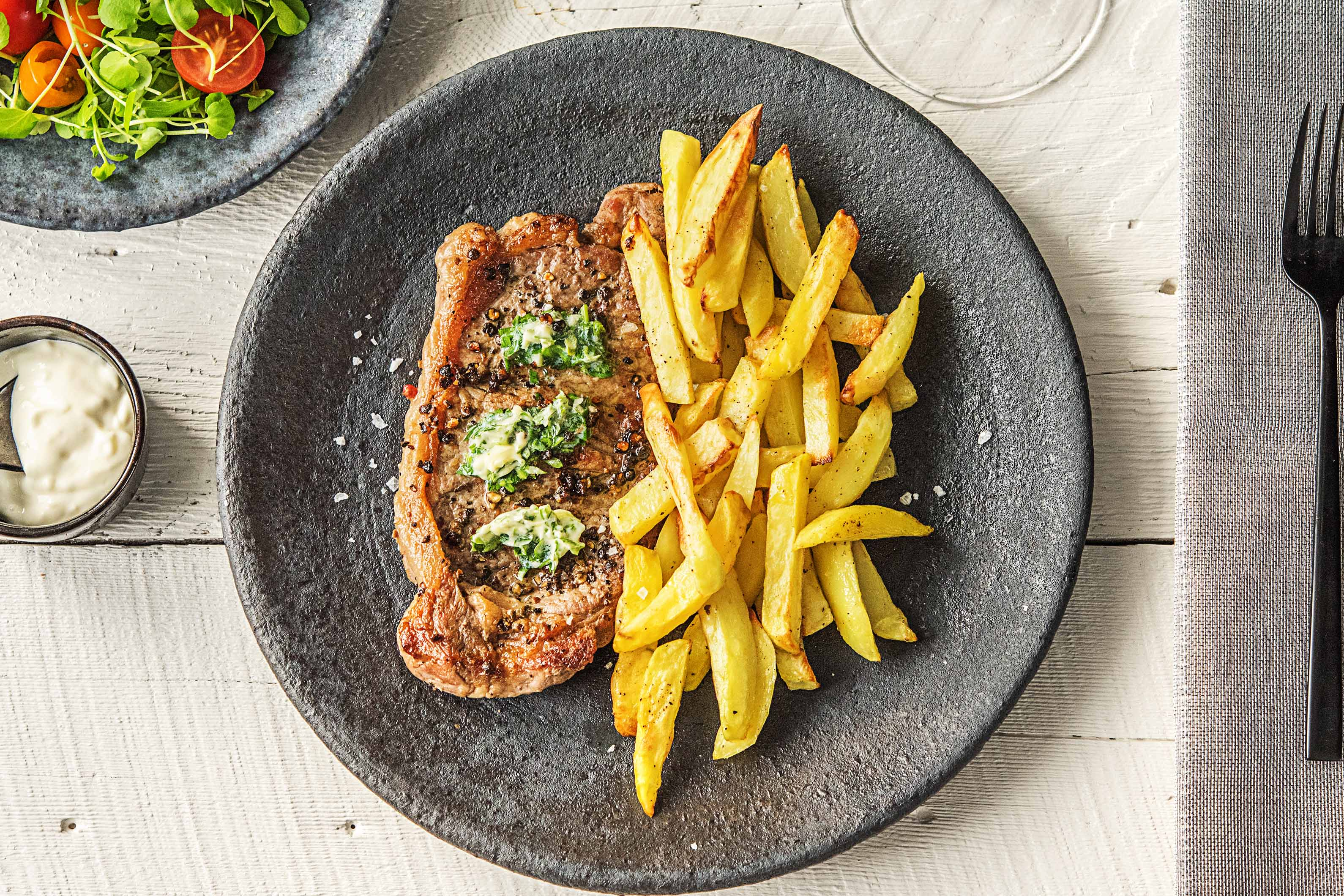 Steak Frites With Green Olive Pesto Recipe