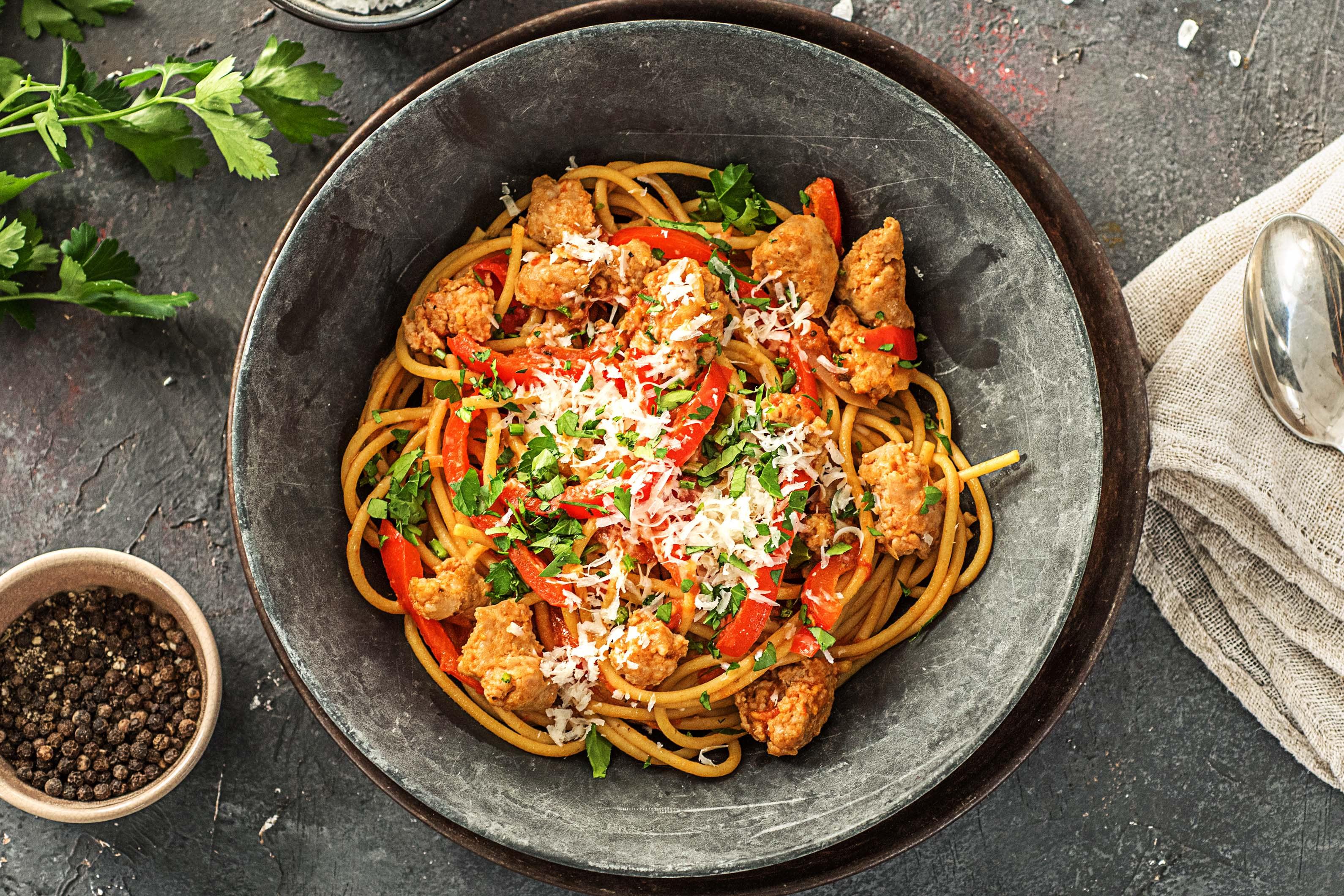 tuscan sausage and pepper spaghetti recipe hellofresh
