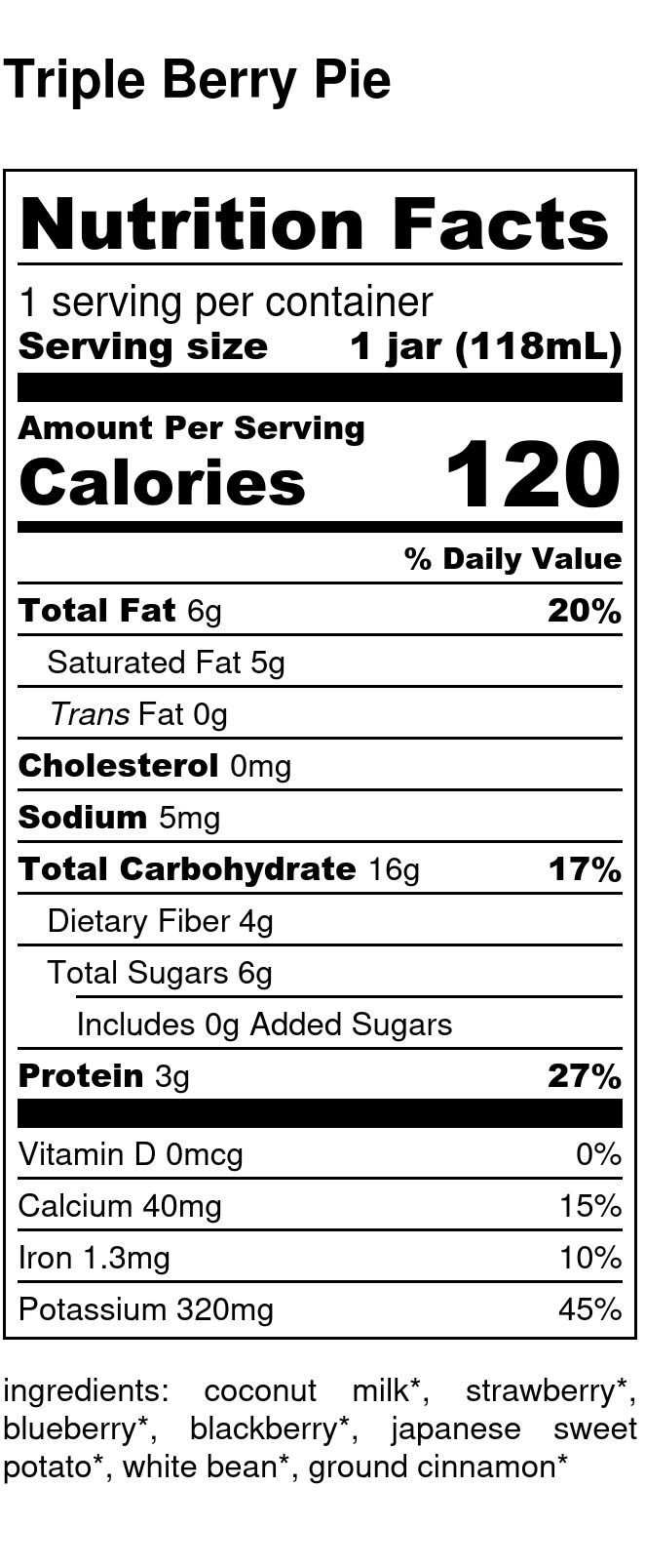 Yumi Triple Berry Pie nutrition facts
