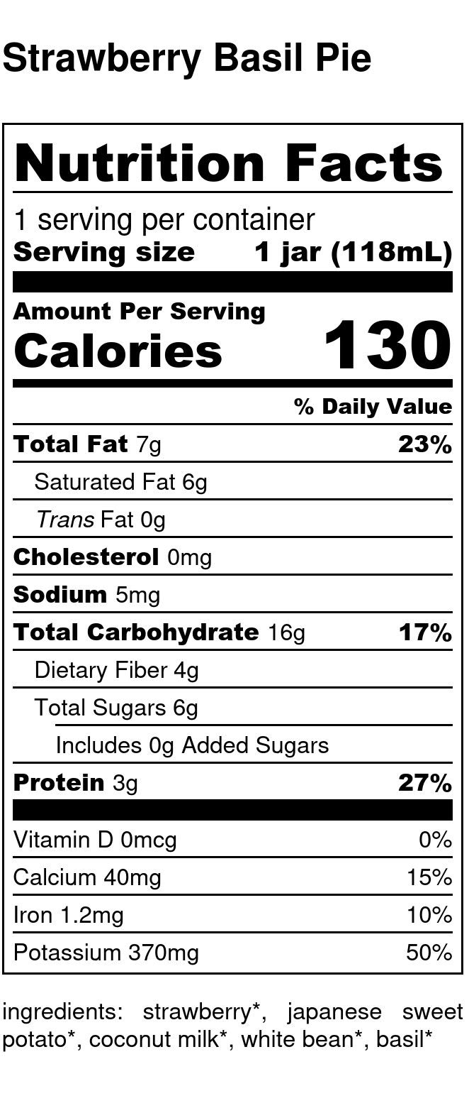 Yumi Strawberry Basil Pie nutrition facts