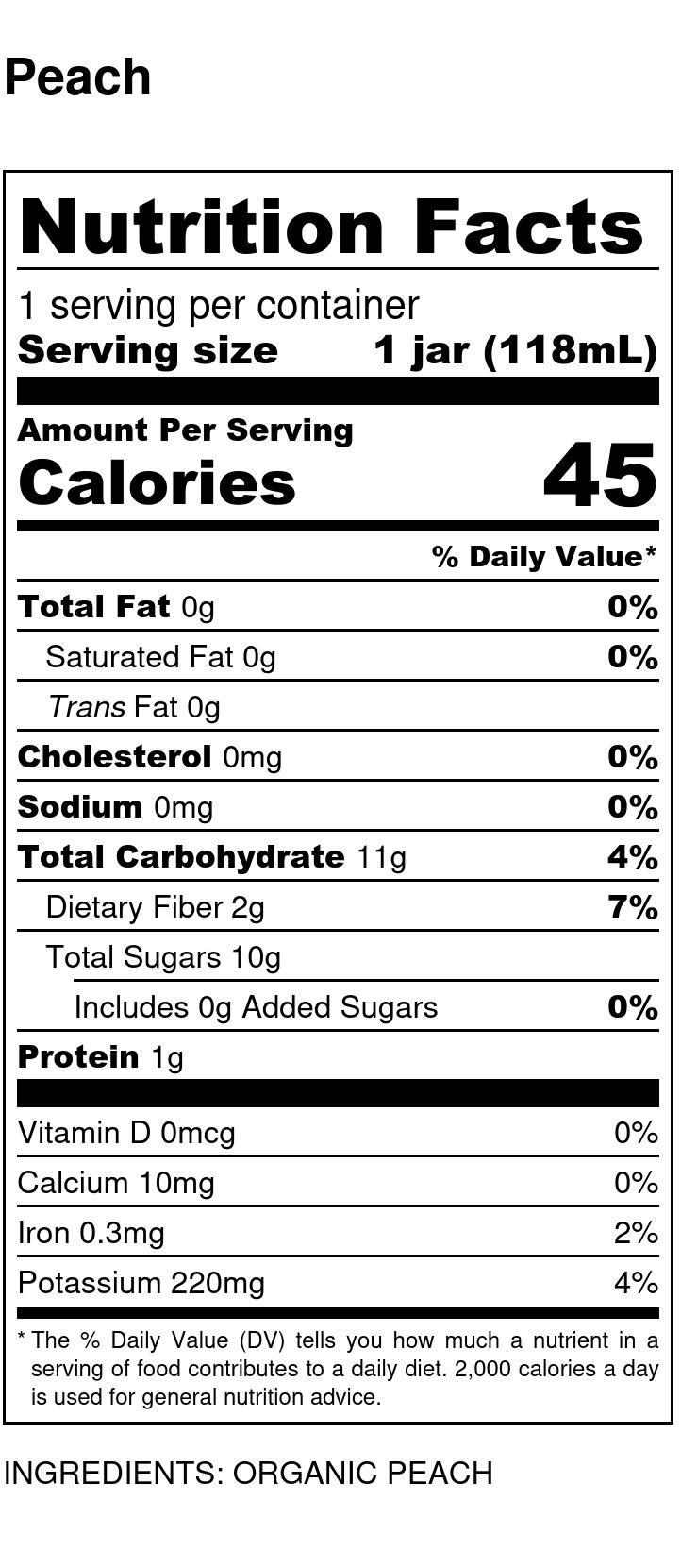 Yumi Peach nutrition facts