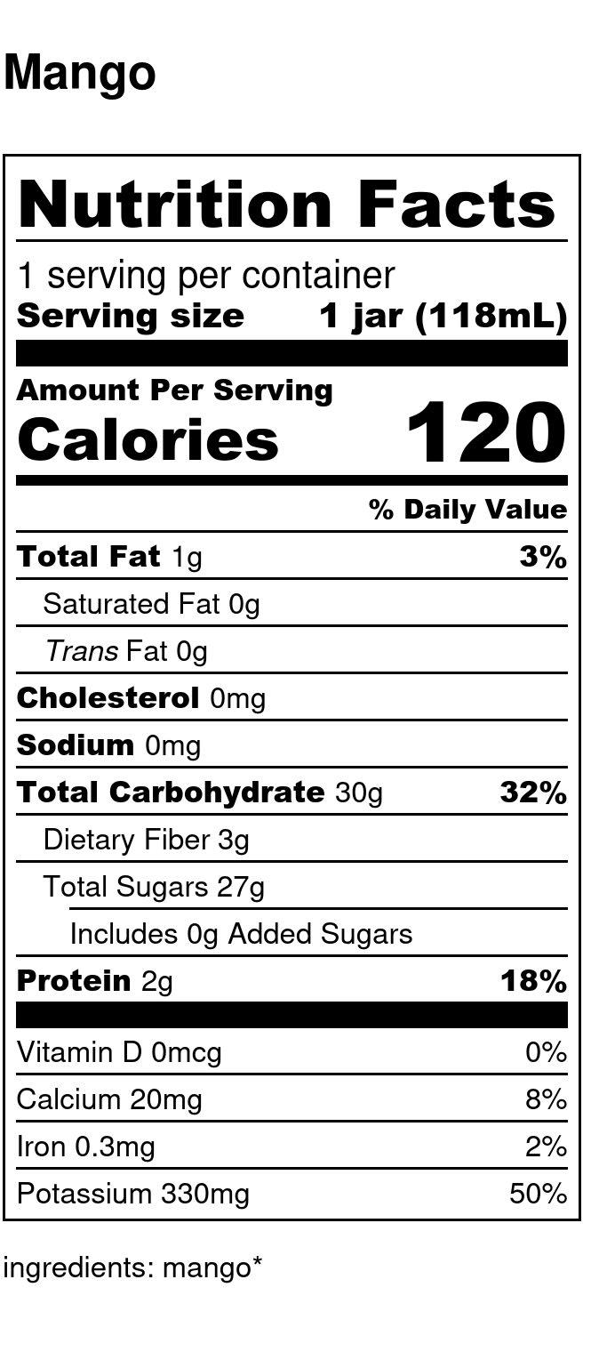 Yumi Mango nutrition facts