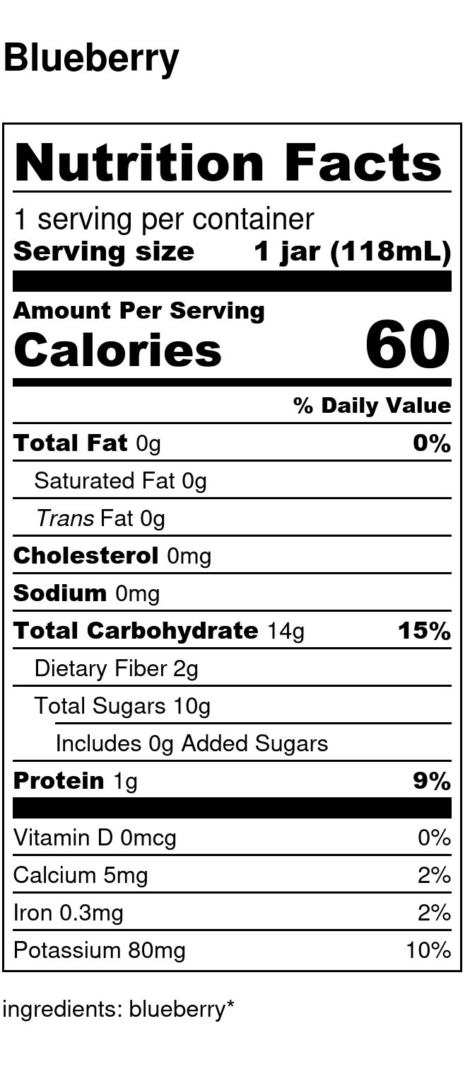 Yumi Blueberry nutrition facts