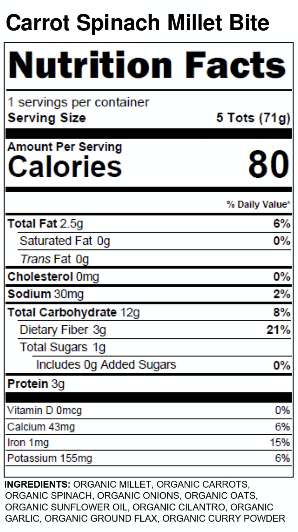 Yumi Carrot Spinach Millet Bite nutrition facts