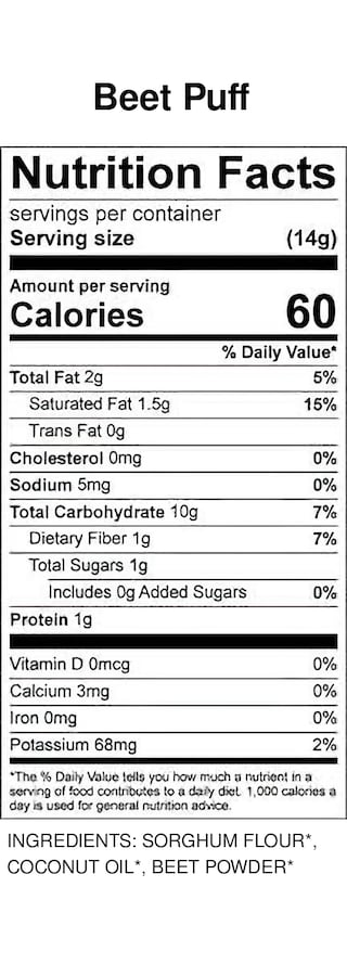 Yumi Beet Puffs nutrition facts