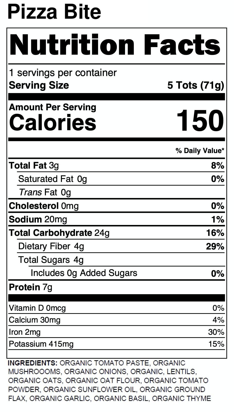 Yumi Pizza Bite nutrition facts