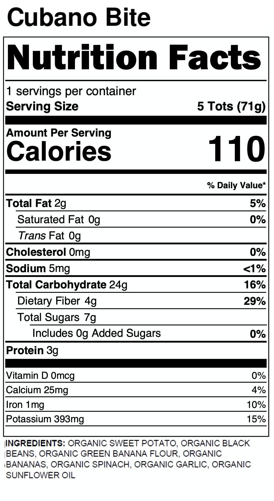 Yumi Cubano Bite nutrition facts