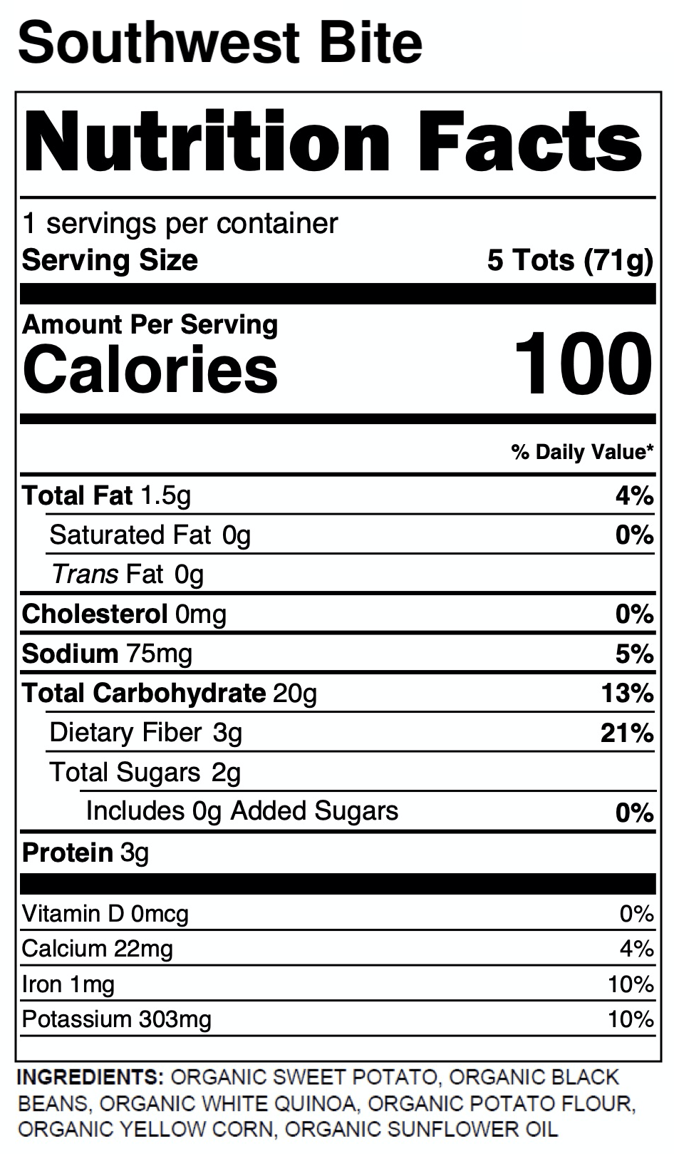 Yumi Southwest Bite nutrition facts