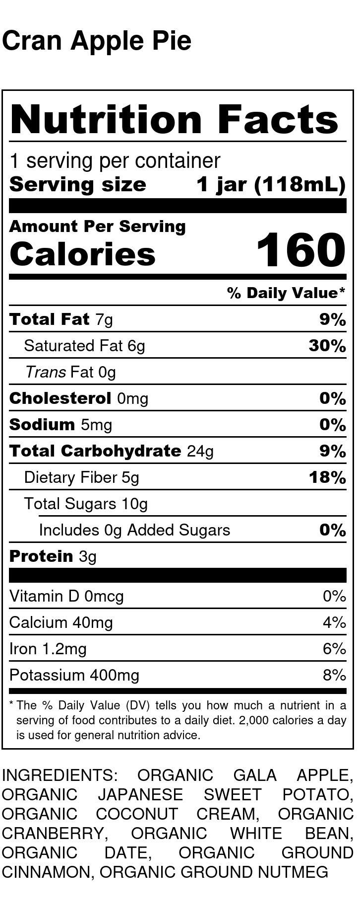 Yumi Cran Apple Pie nutrition facts