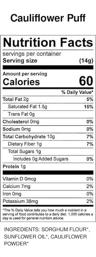 Yumi Cauliflower Puffs nutrition facts