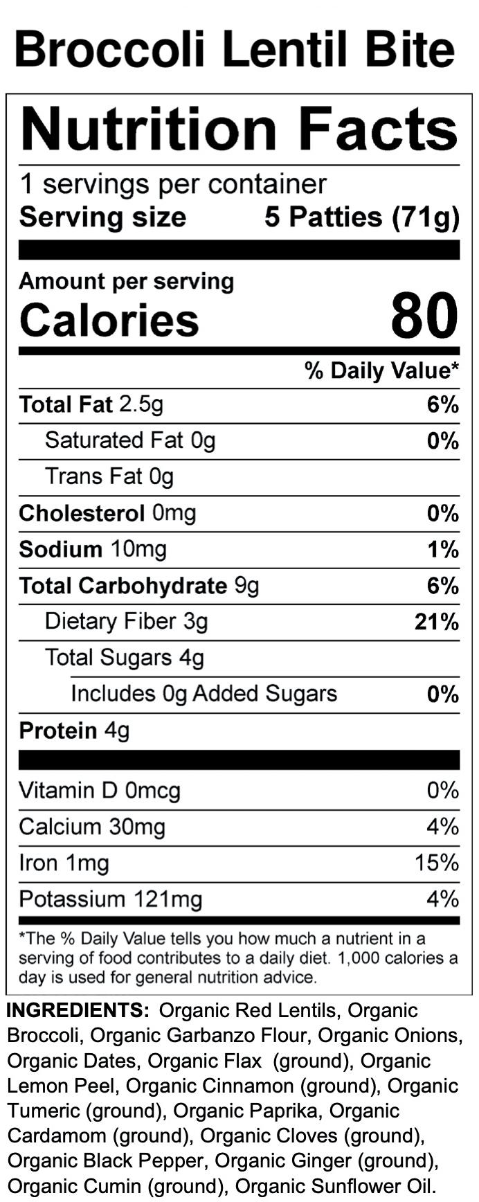 Yumi Broccoli Lentil Bite nutrition facts