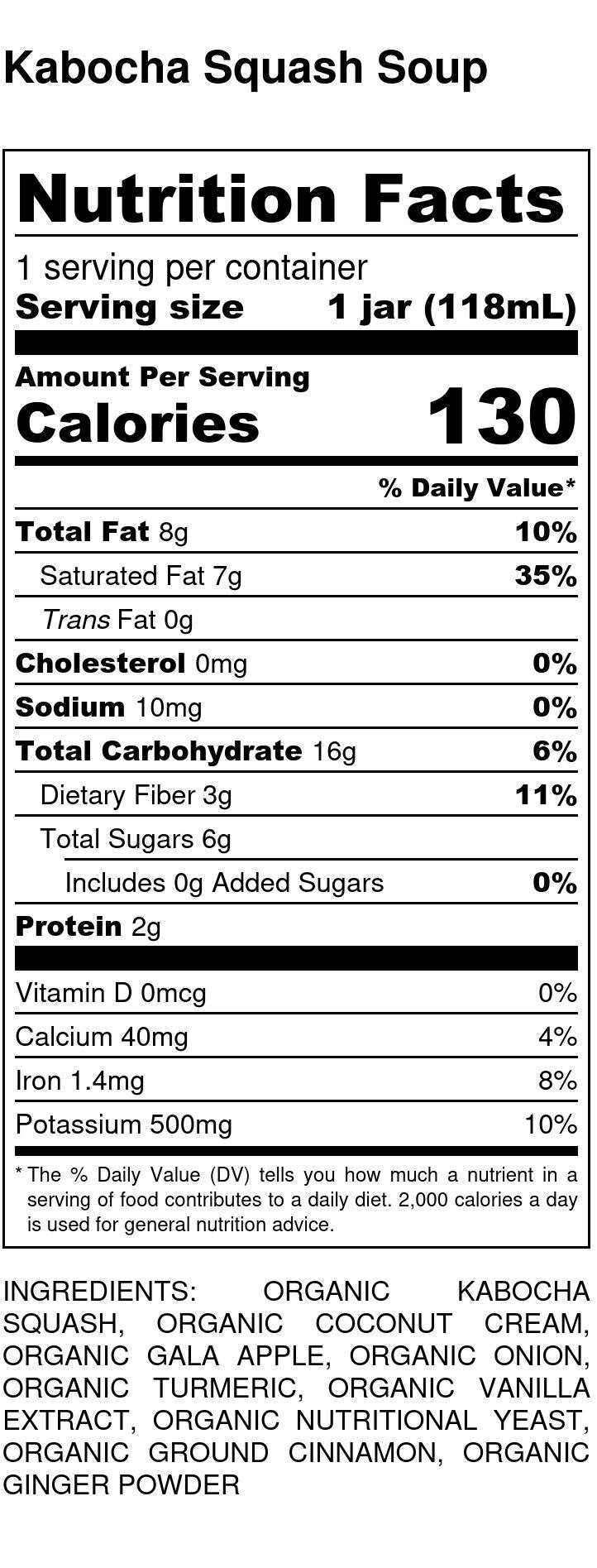 Yumi Kabocha Squash Soup nutrition facts